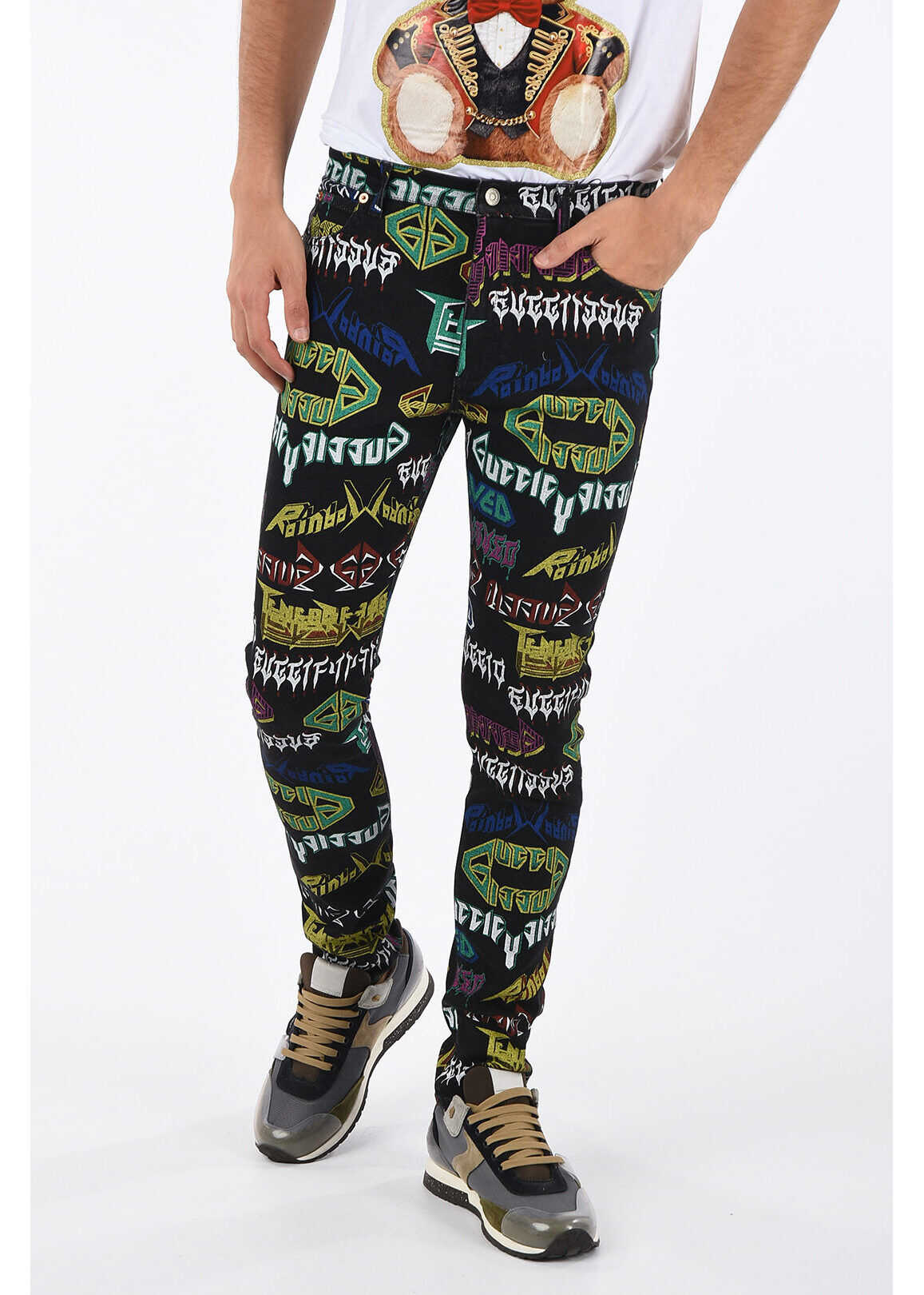 Gucci Slim Fit METAL Printed Jeans 15cm BLACK