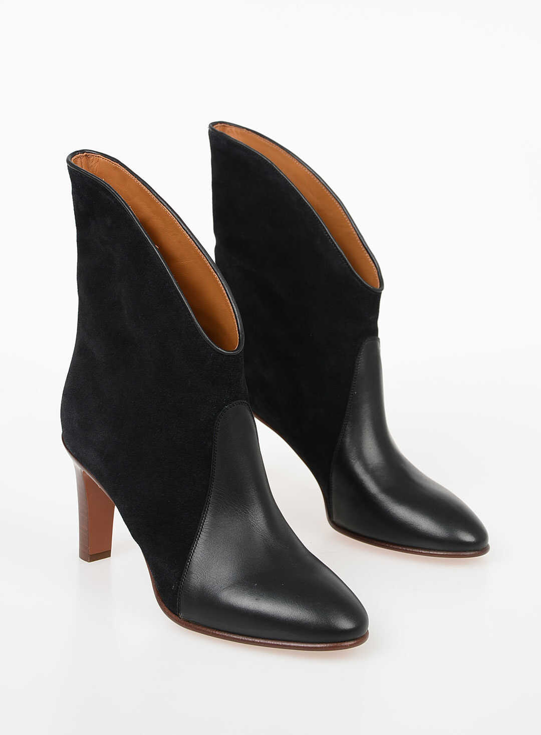 Chloe 8cm Leather Ankle Boots BLACK
