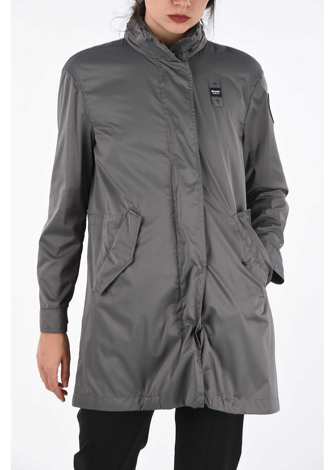 Blauer Hooded Raincoat Trench GRAY