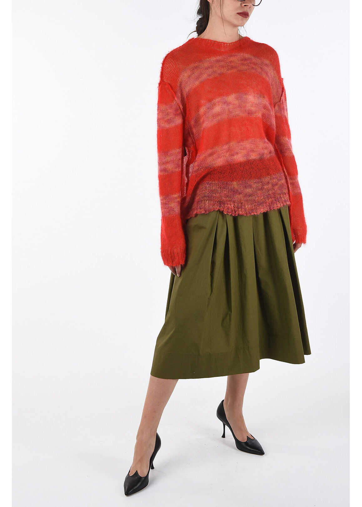 Fay Drawstring Flared Skirt GREEN