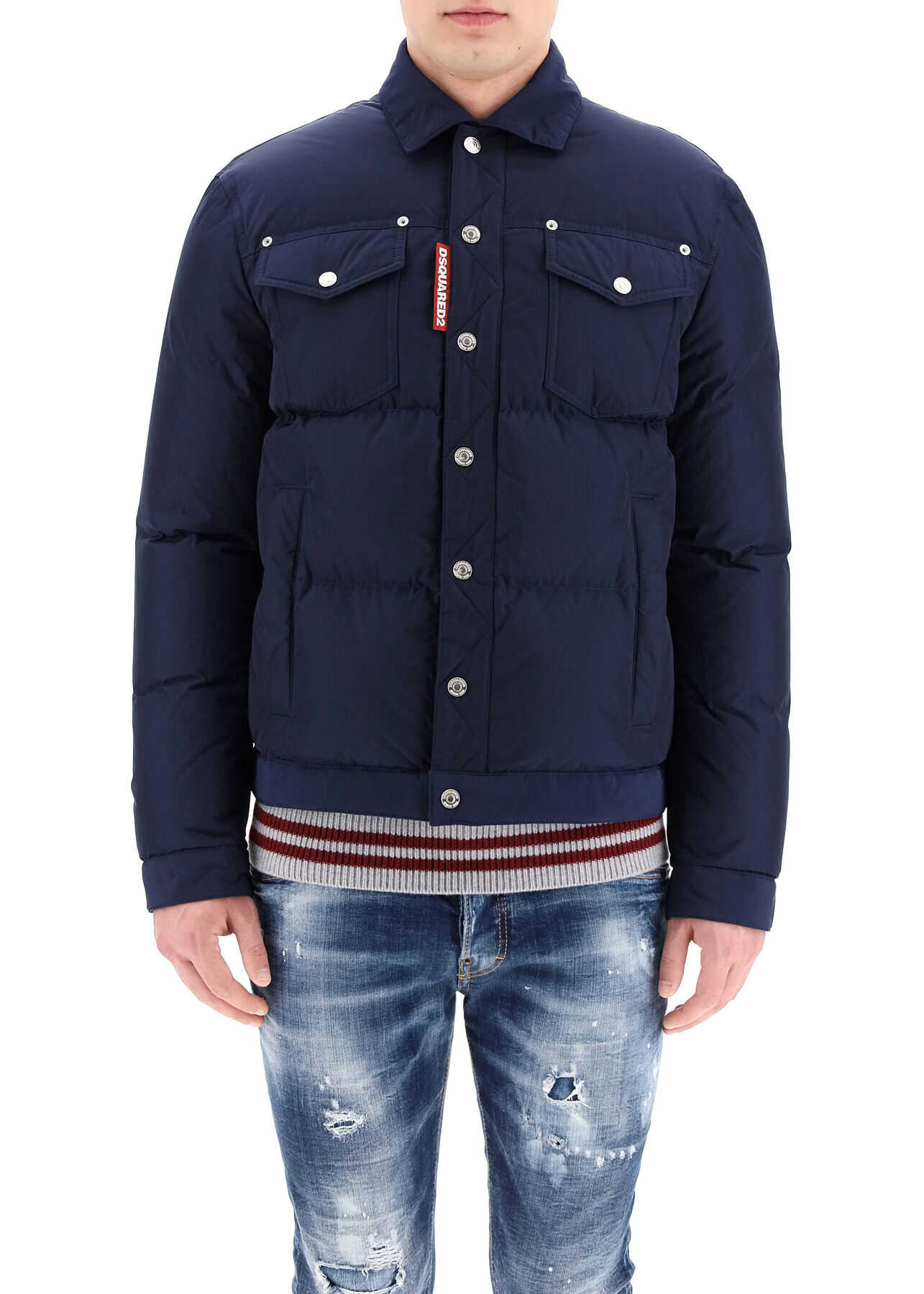 DSQUARED2 Down Jacket With Pockets NAVY BLUE imagine