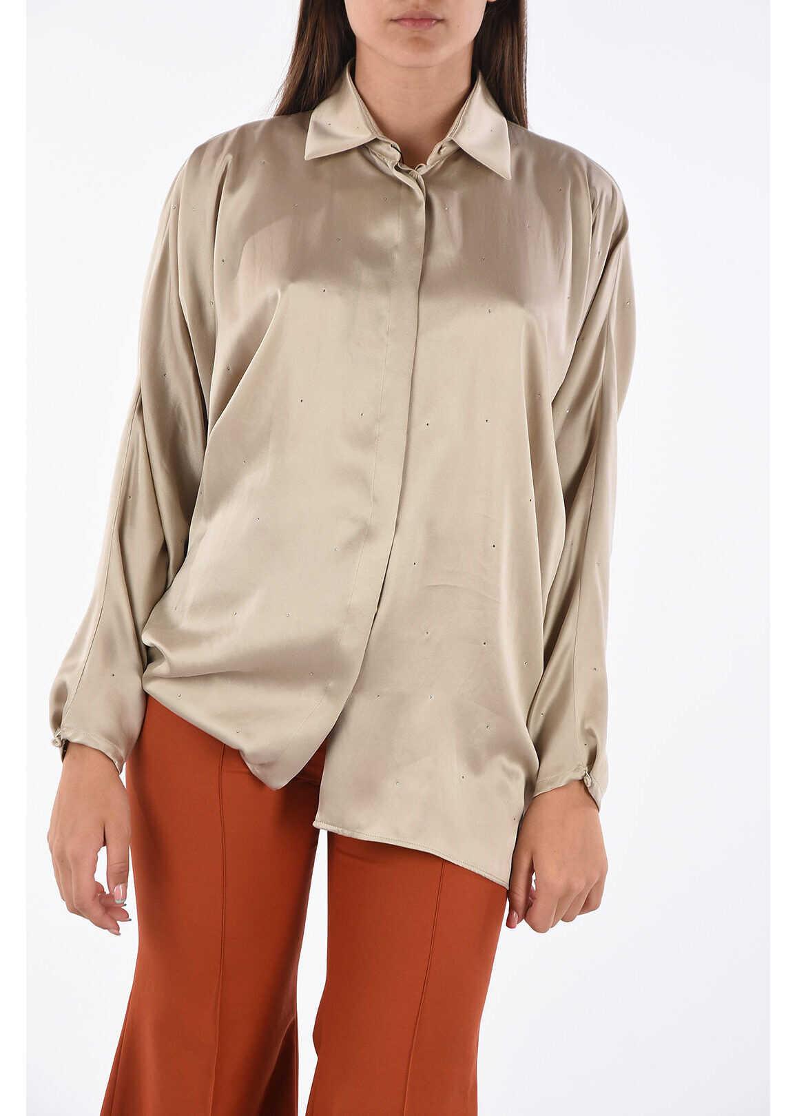 Max Mara Silk Shirt with Jewel Applications BEIGE