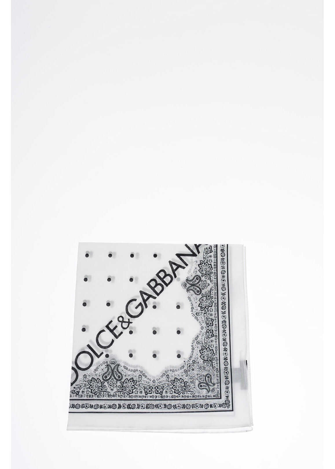 Dolce & Gabbana 50x50 cm Polka Dots Foulard BLACK & WHITE