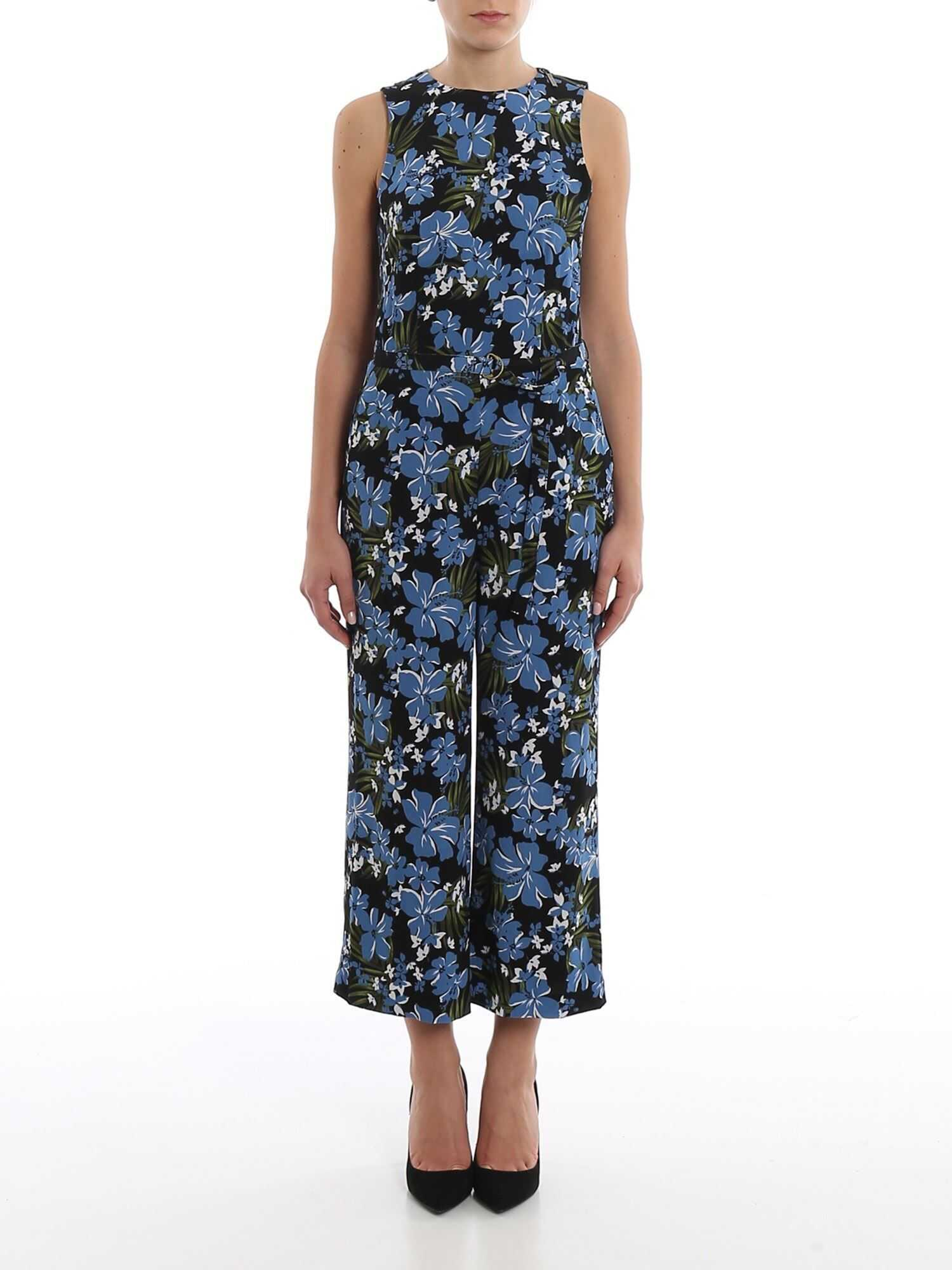 Michael Kors Floral Printed Crepe Sleeveless Jumpsuit Multi