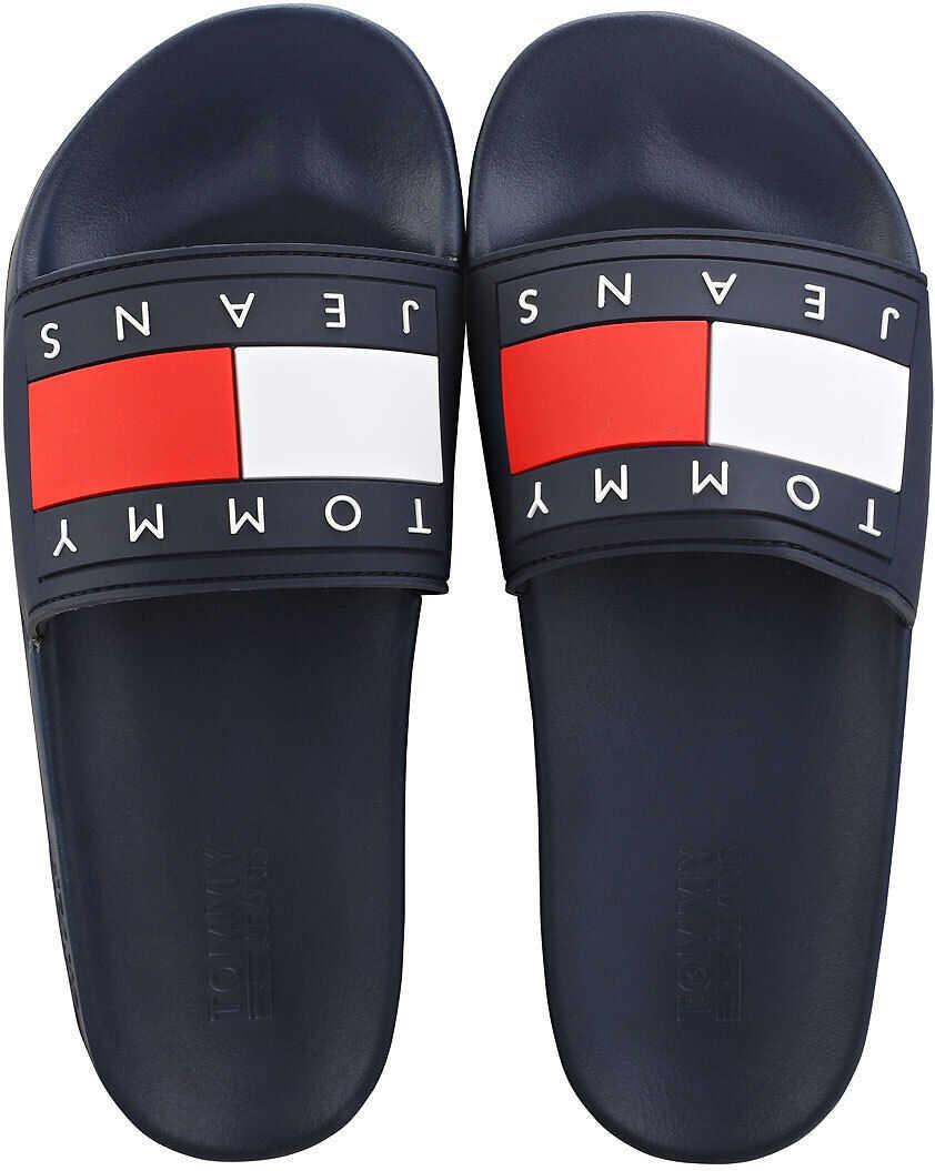 Tommy Jeans Flag Pool Slide Sandals In Navy* Blue