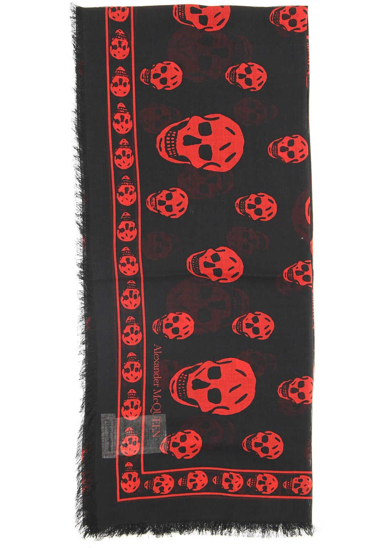 Alexander McQueen Skull Scarf BLACK RED