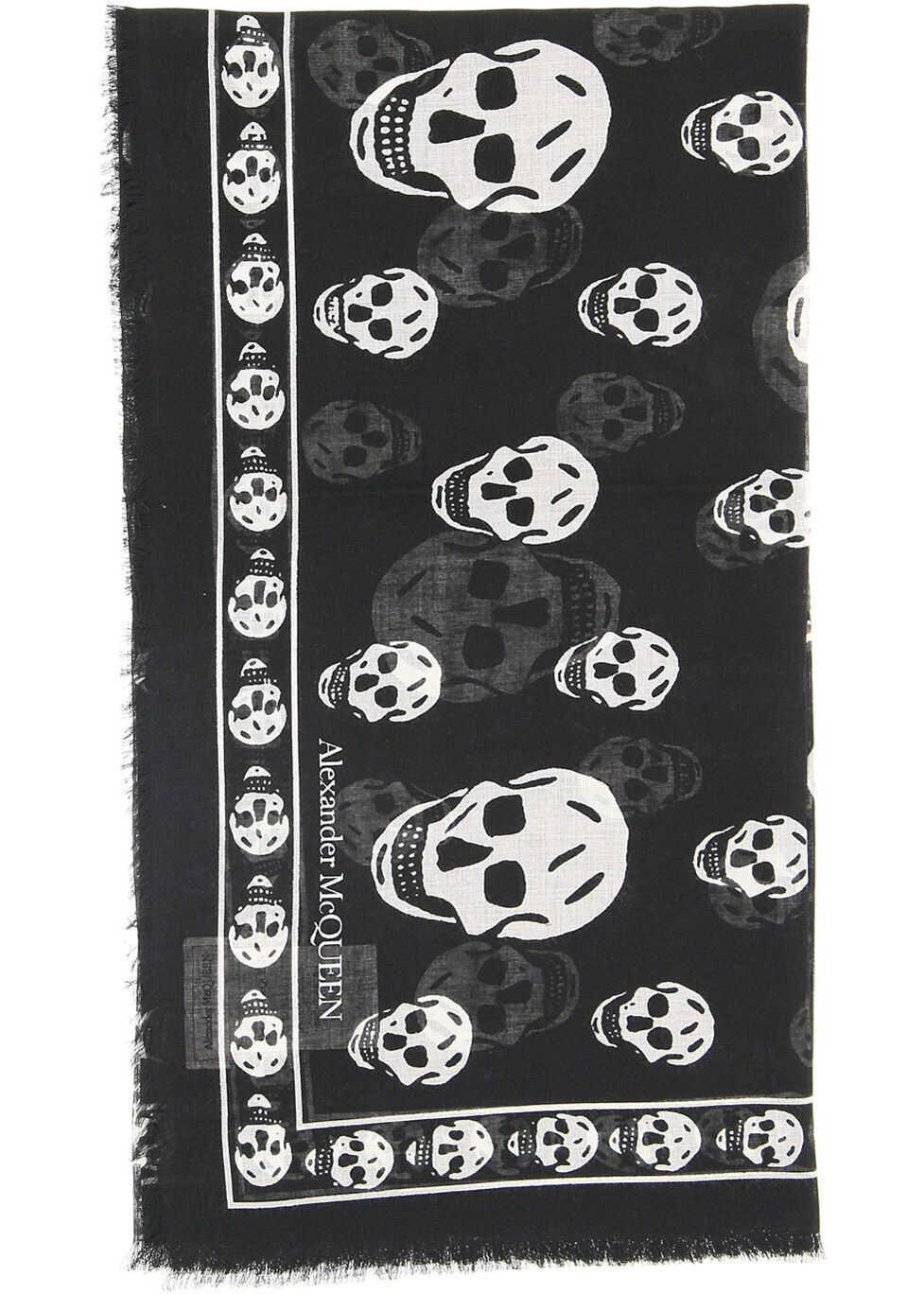 Alexander McQueen Skull Scarf BLACK IVORY