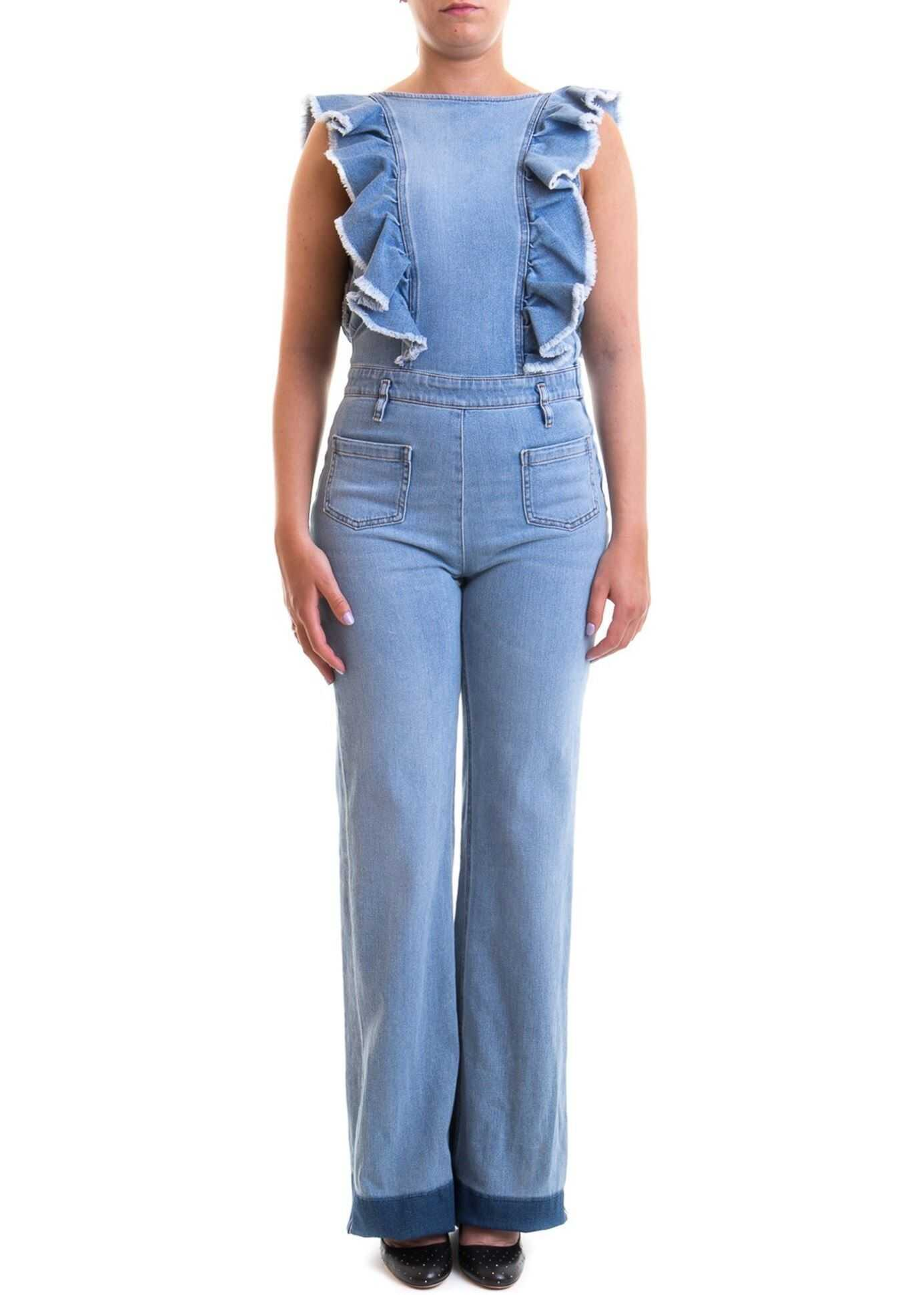 RED VALENTINO Frilled Denim Jumpsuit Light Blue