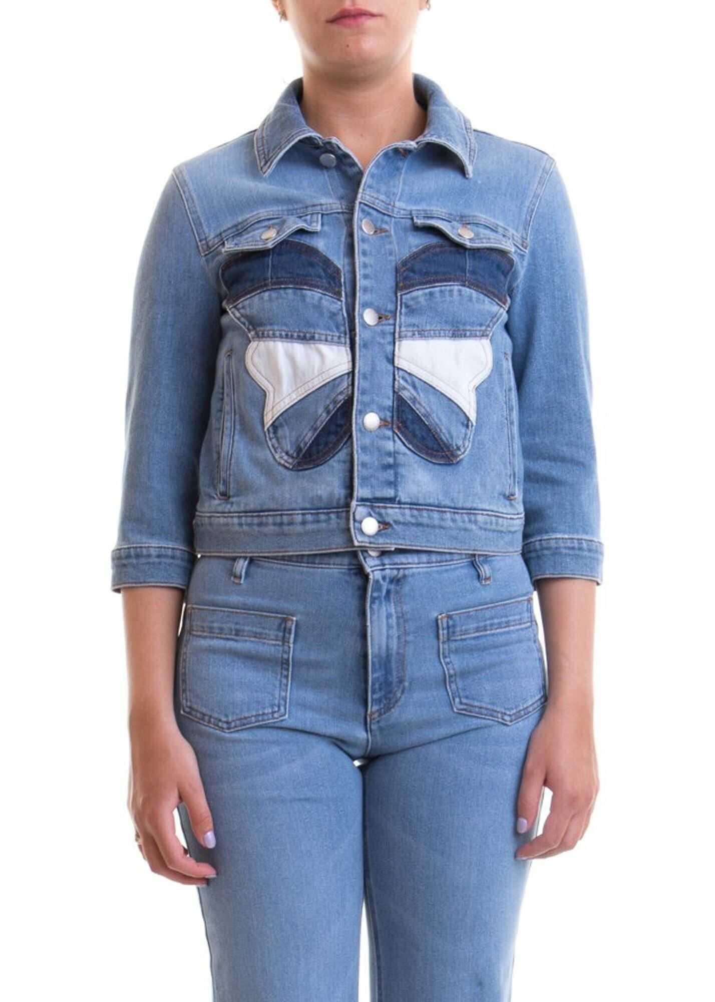 RED VALENTINO Butterfly Patch Denim Jacket Light Blue