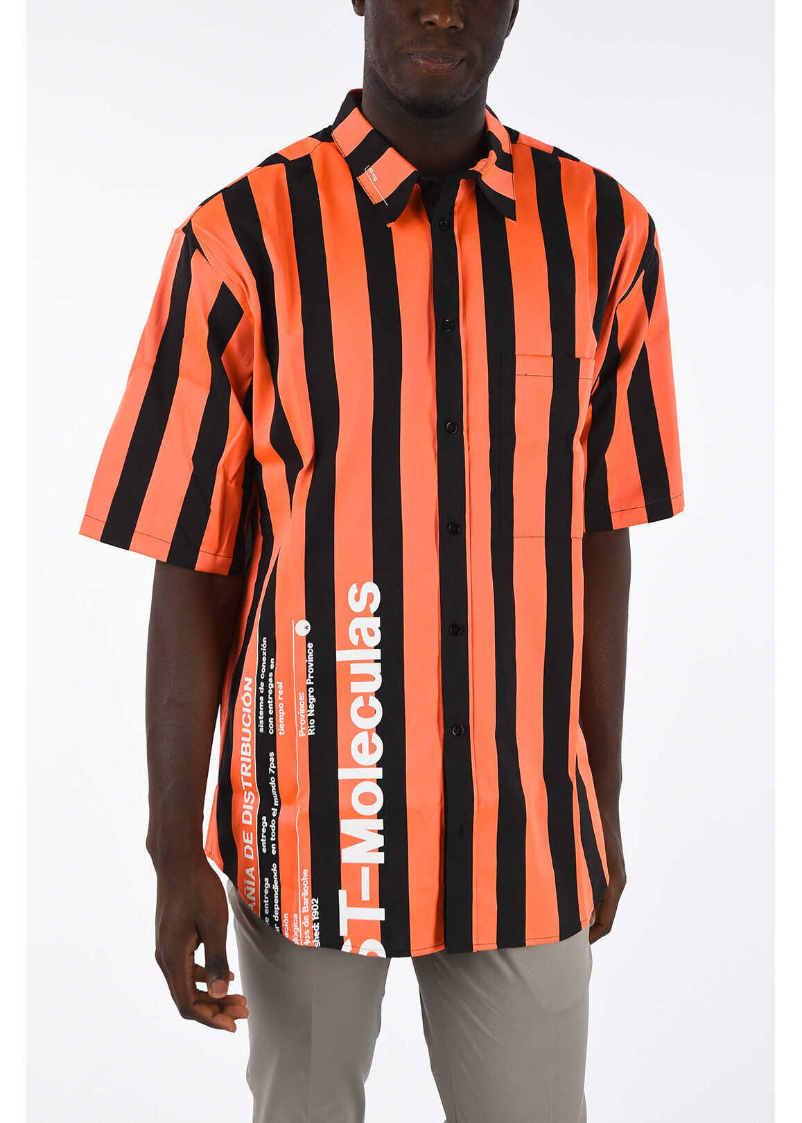Marcelo Burlon Striped Oversized Shirt ORANGE