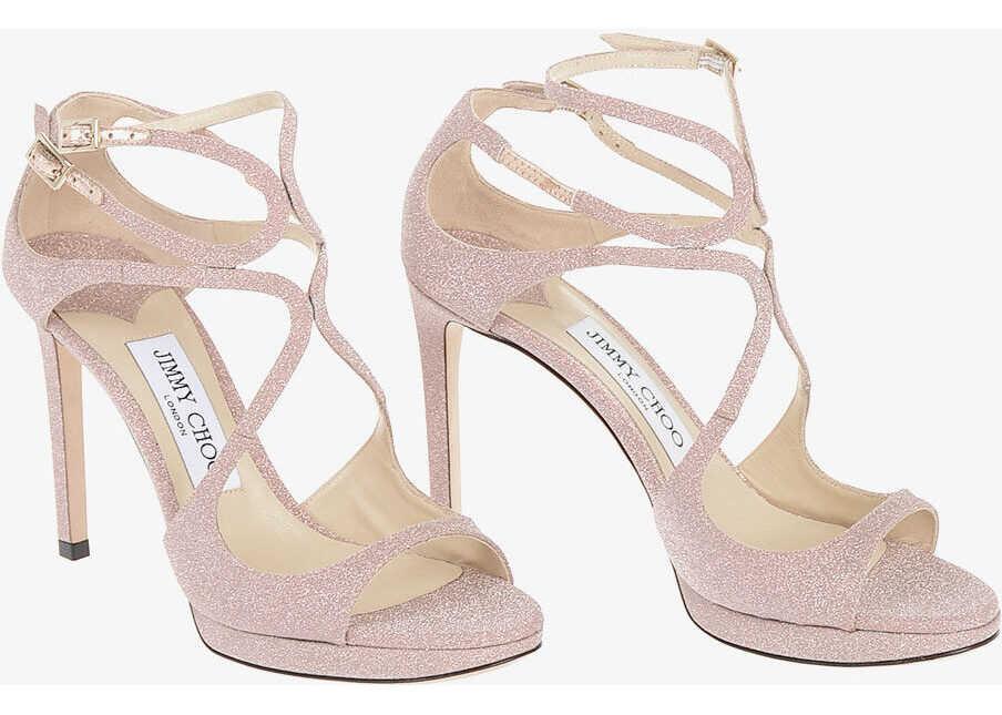 Jimmy Choo Glittery Leather LANCE Sandals 10 cm* PINK