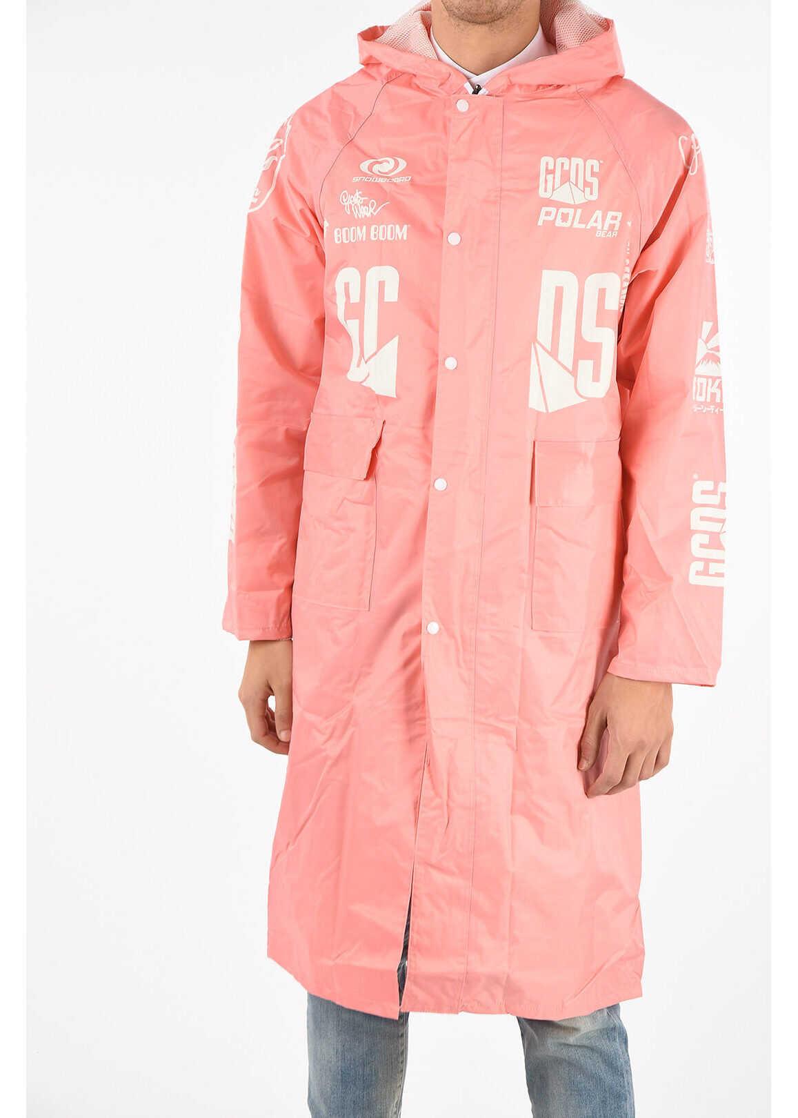GCDS Hooded Raincoat PINK