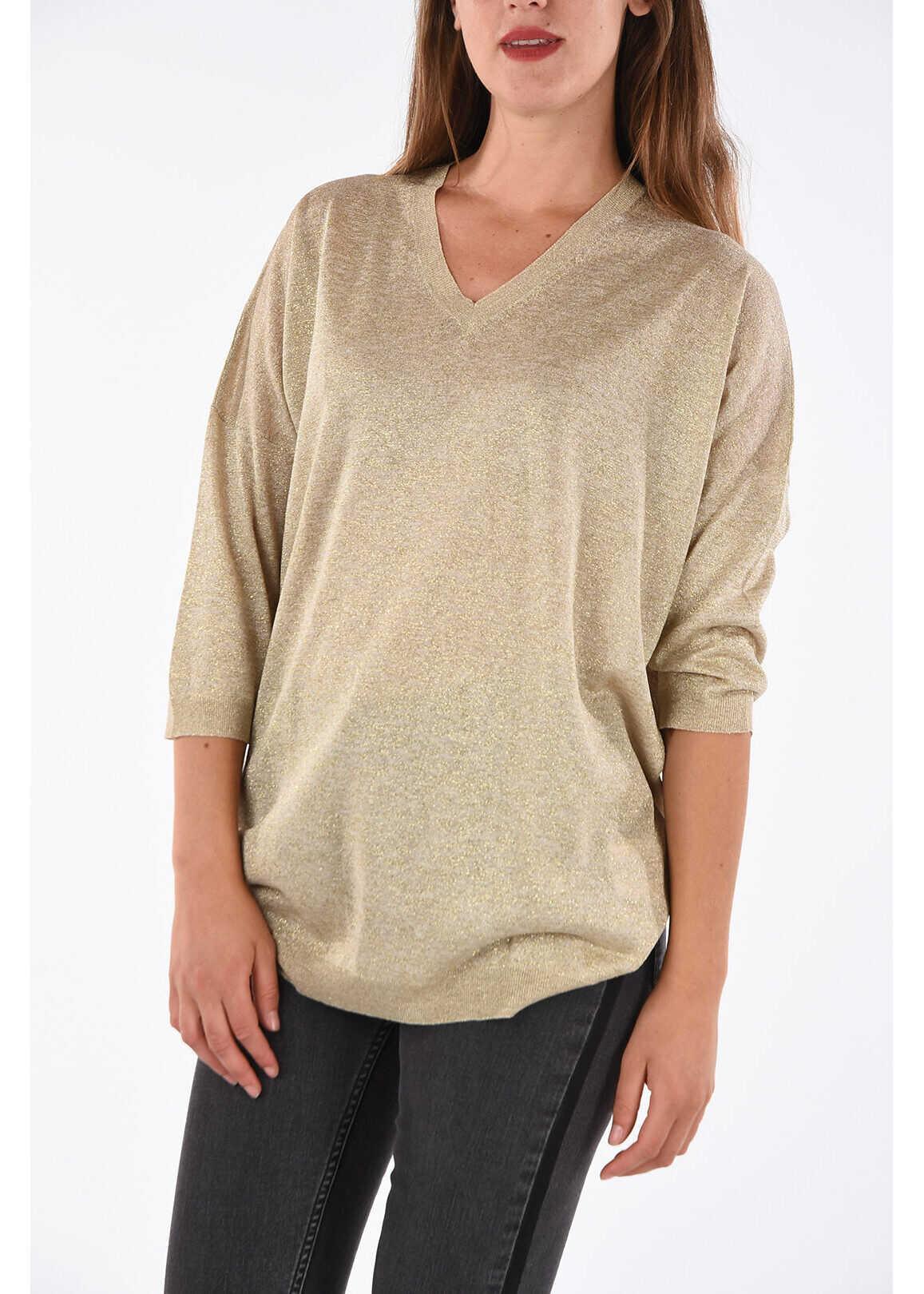 Fay Glittered ¾ Sleeve Sweter GOLD