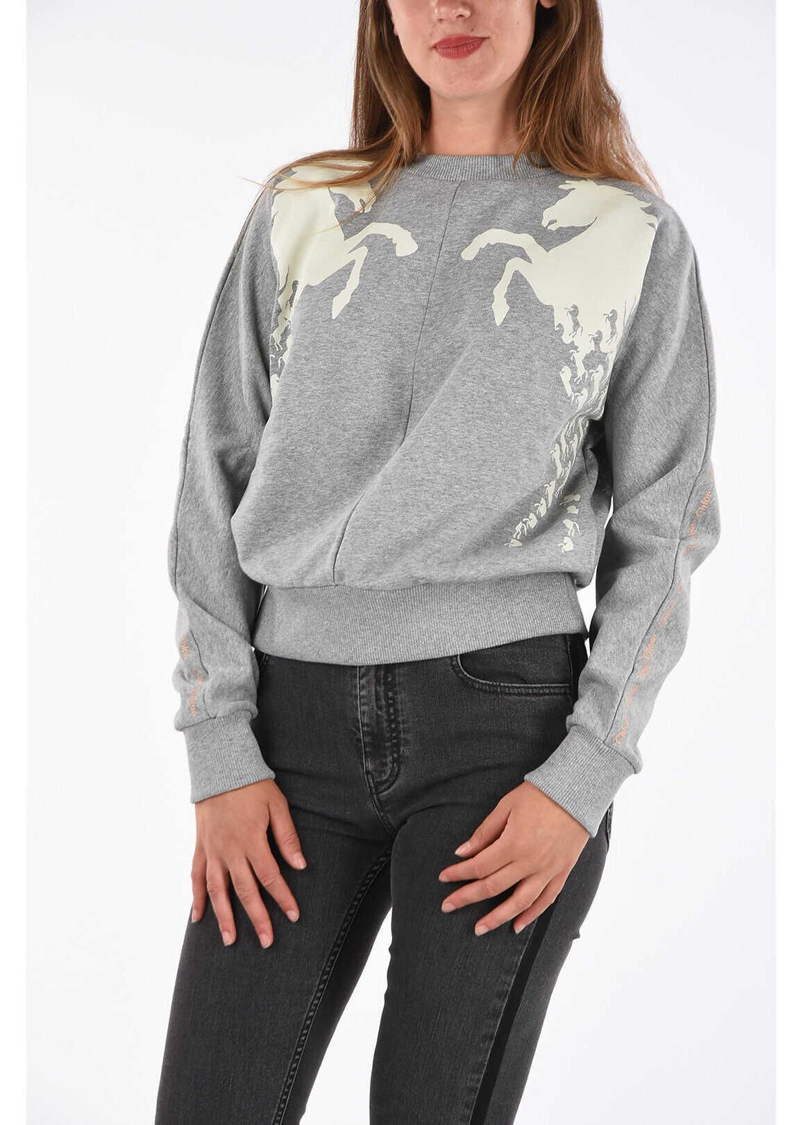 Chloe Crew-Neck Sweatshirt with Print GRAY
