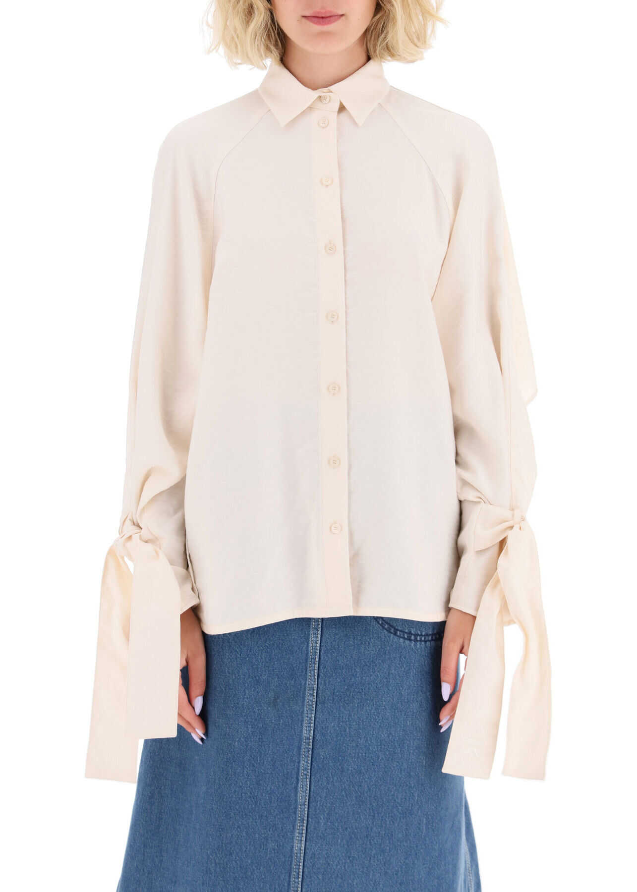Kenzo Shirt With Knotted Cuffs FA62CH0295AS ECRU image0