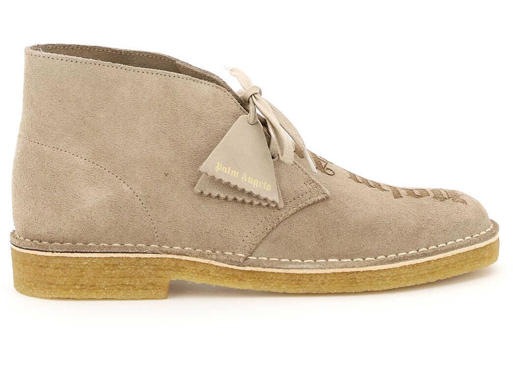 Palm Angels Clarks Desert Boots With Logo PMIA050E20LEA002 SAND SAND imagine b-mall.ro
