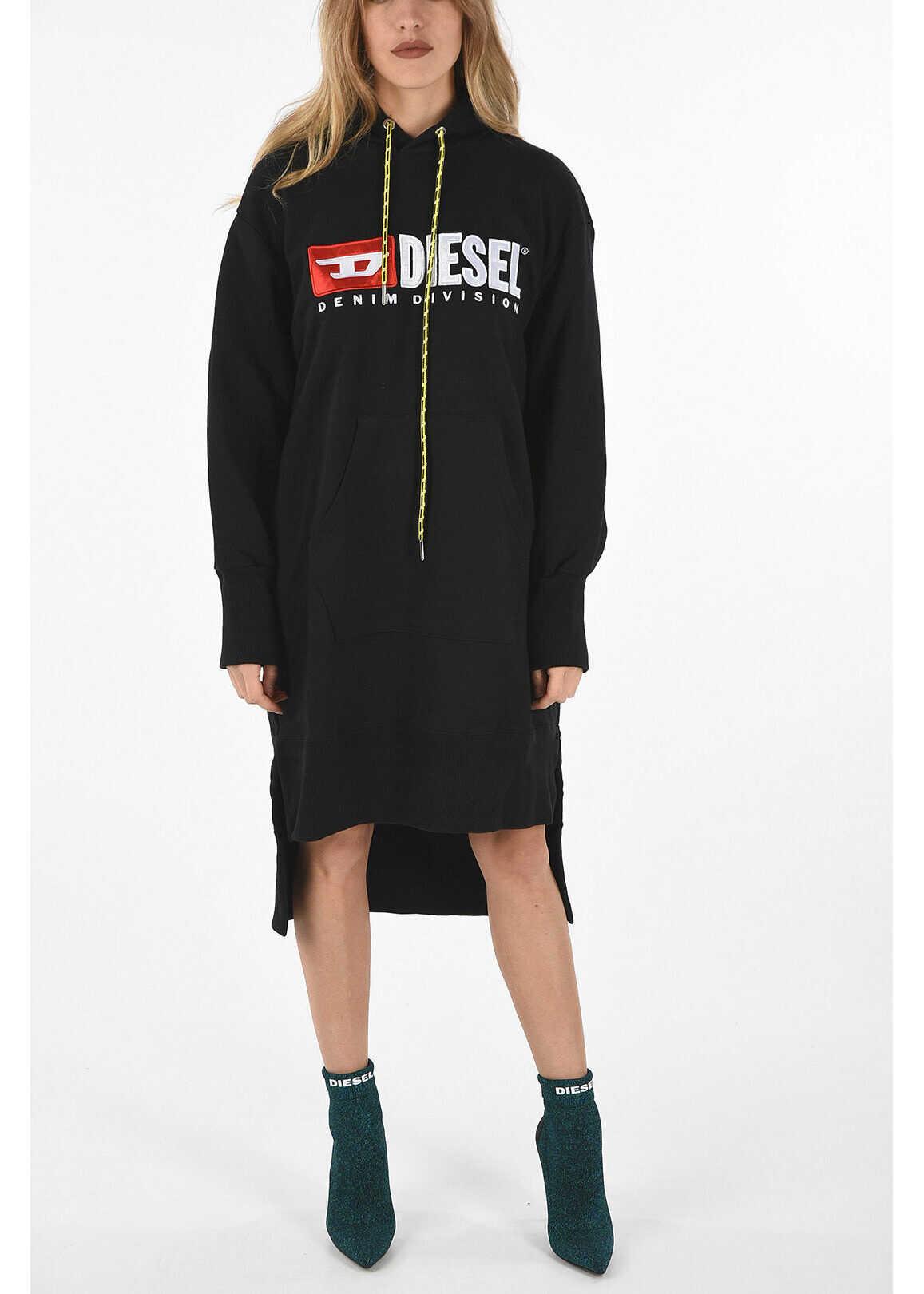 Diesel Hooded D-ILSE-C Asymmetrical Cut Dress* BLACK