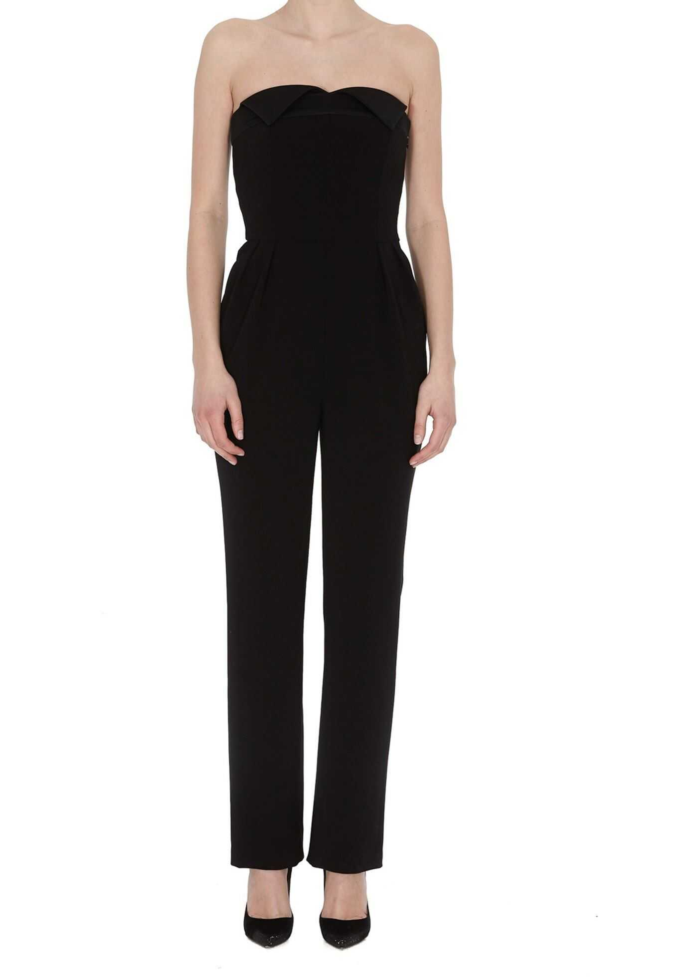 Moschino Sweetheart Neckline Jumpsuit In Black Black