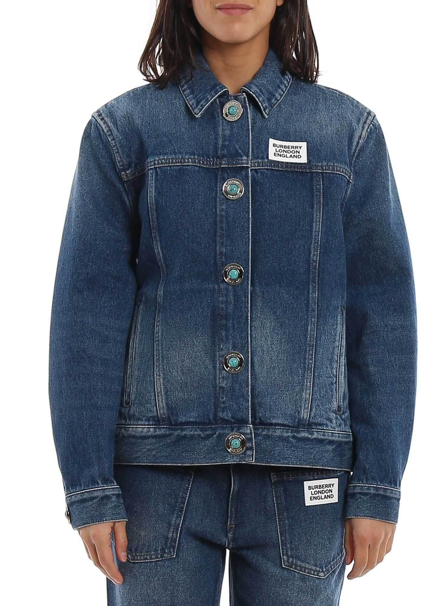 Burberry Yvonne Denim Jacket In Blue Blue