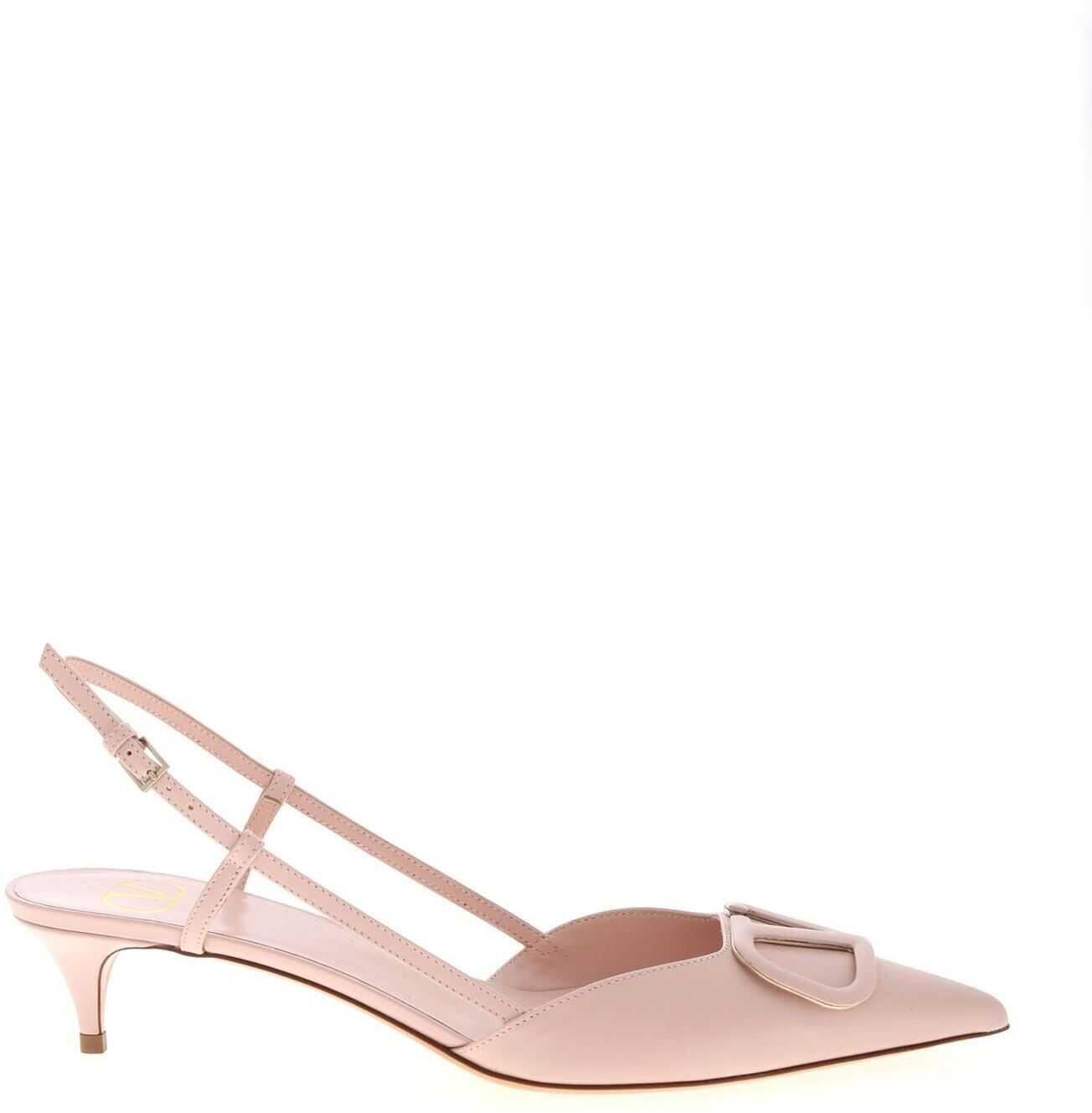 Valentino Garavani Sling Back V Logo In Pink TW2S0Q70 MZF 16Q Pink imagine b-mall.ro