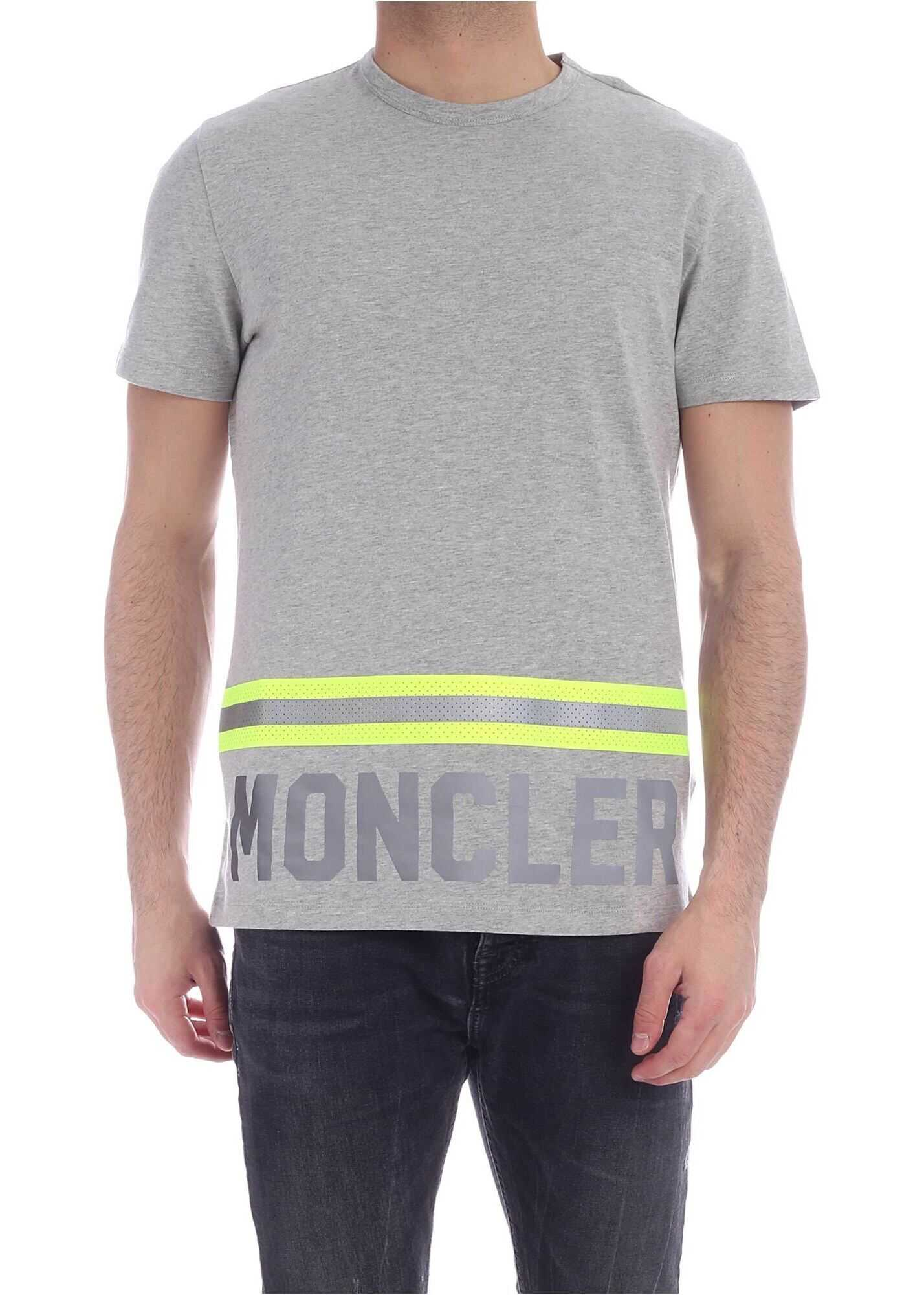 Moncler Fluorescent And Reflective Details T-Shirt In Grey Grey