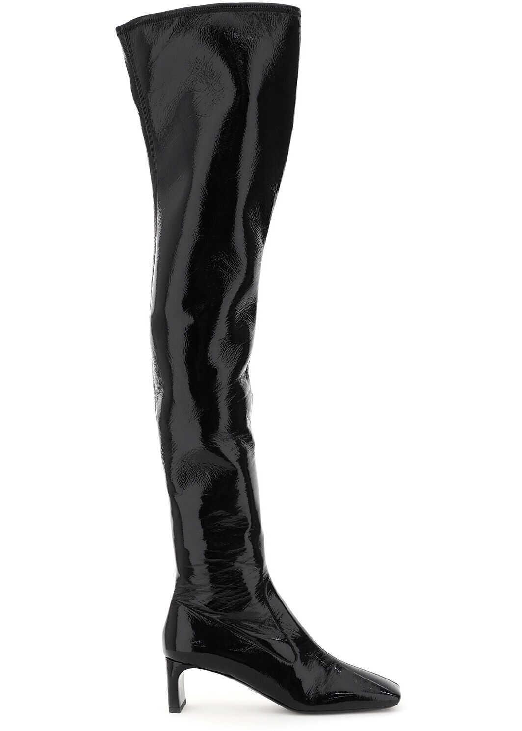 Prada Over-The-Knee Naplak Tech Boots 1W295M 3LBK NERO imagine b-mall.ro