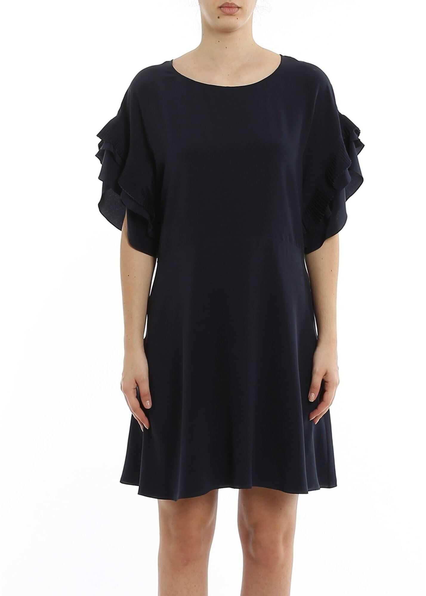 Chloe Silk Dress With Pleated Sleeves Blue