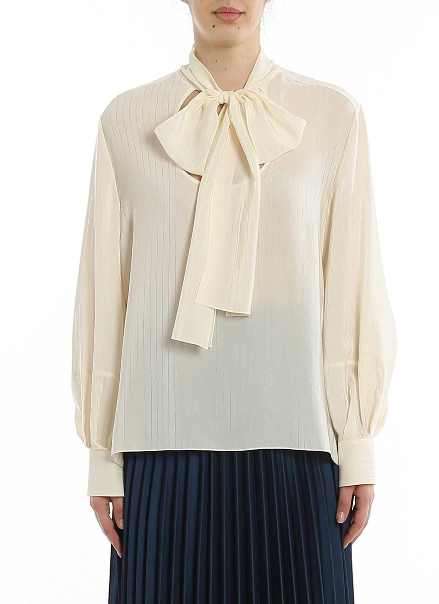 Chloe Pinstriped Silk Blouse With Scarf Cream