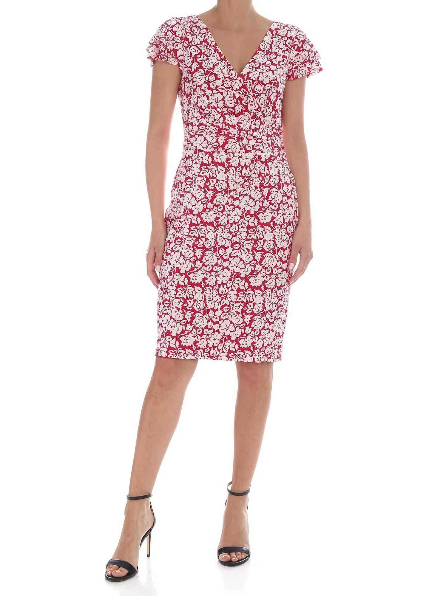 Ralph Lauren Floral Printed Knee-Length Dress In Magenta Red* Red