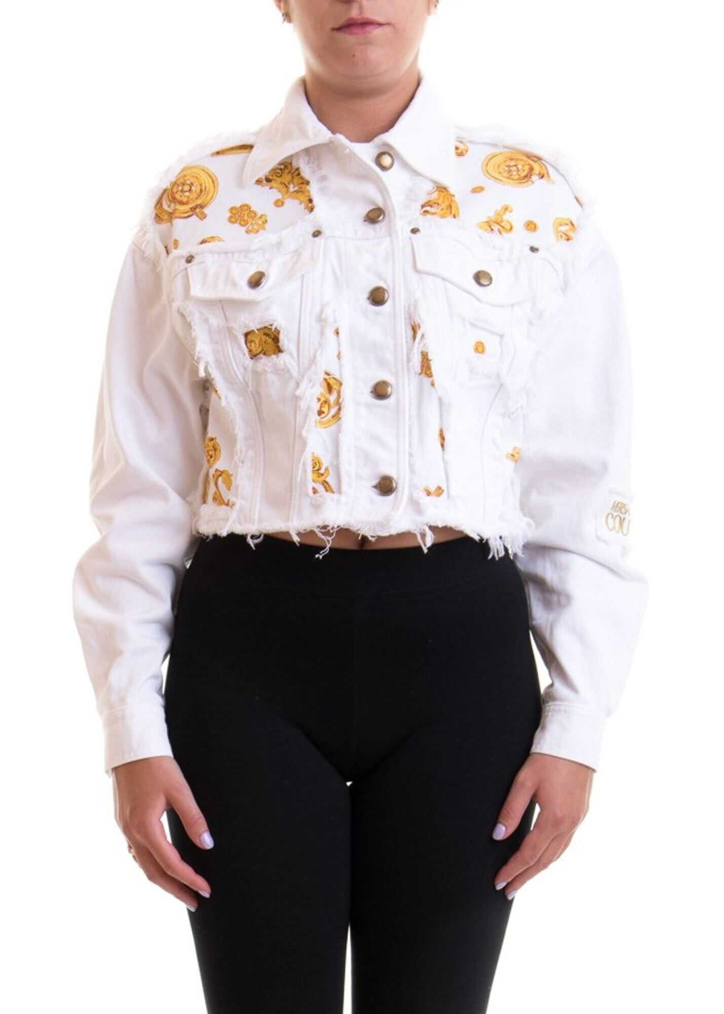 Versace Jeans Couture Patterned Denim Cropped Jacket In White White