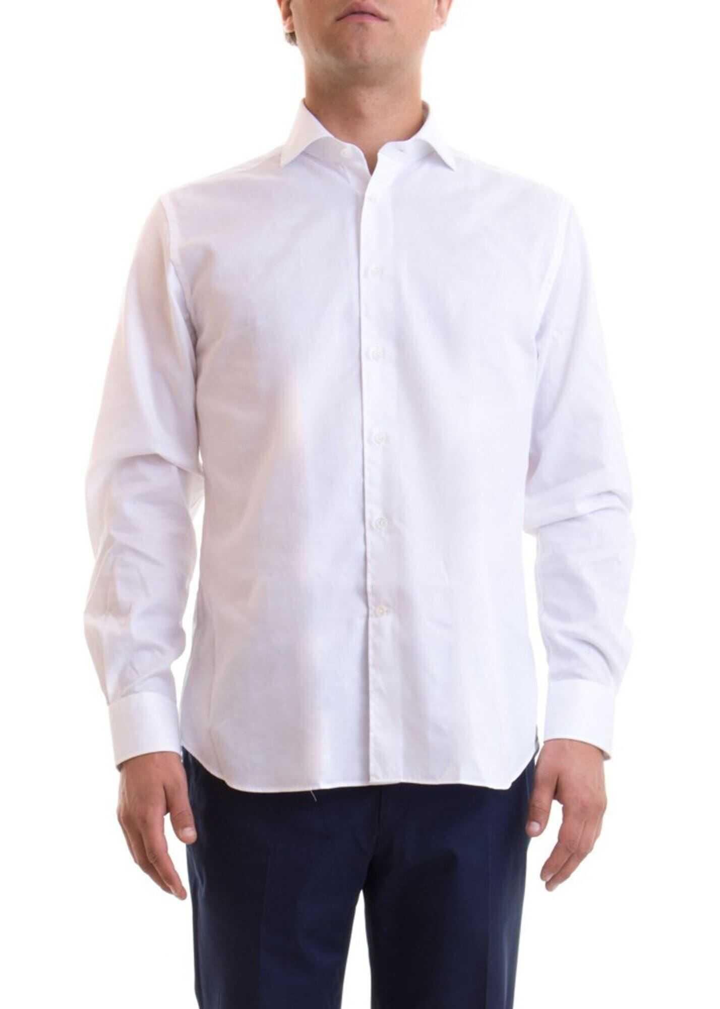 CORNELIANI Classic Cotton Shirt In White White imagine