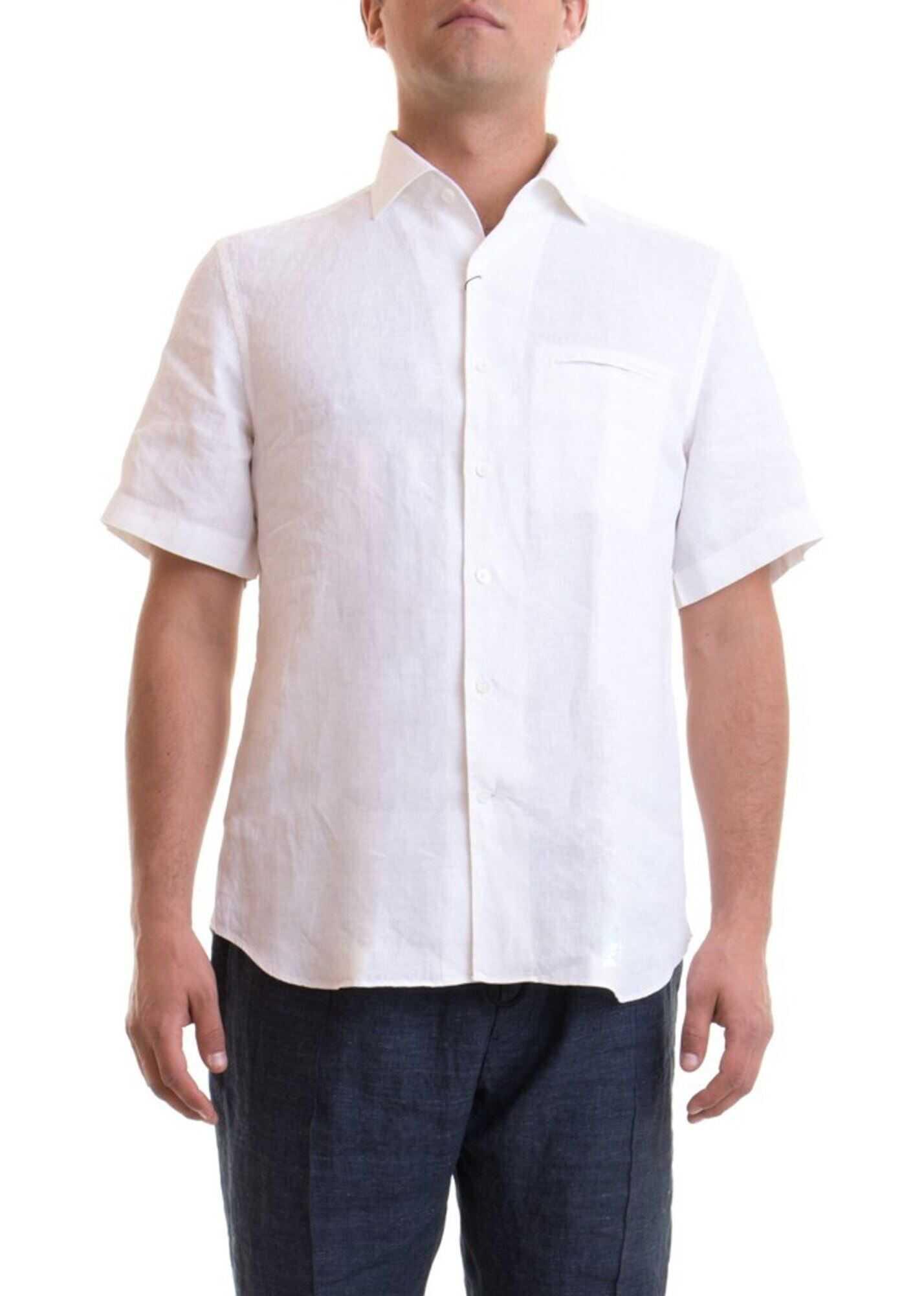 CORNELIANI Linen Short Sleeve Shirt In White White imagine