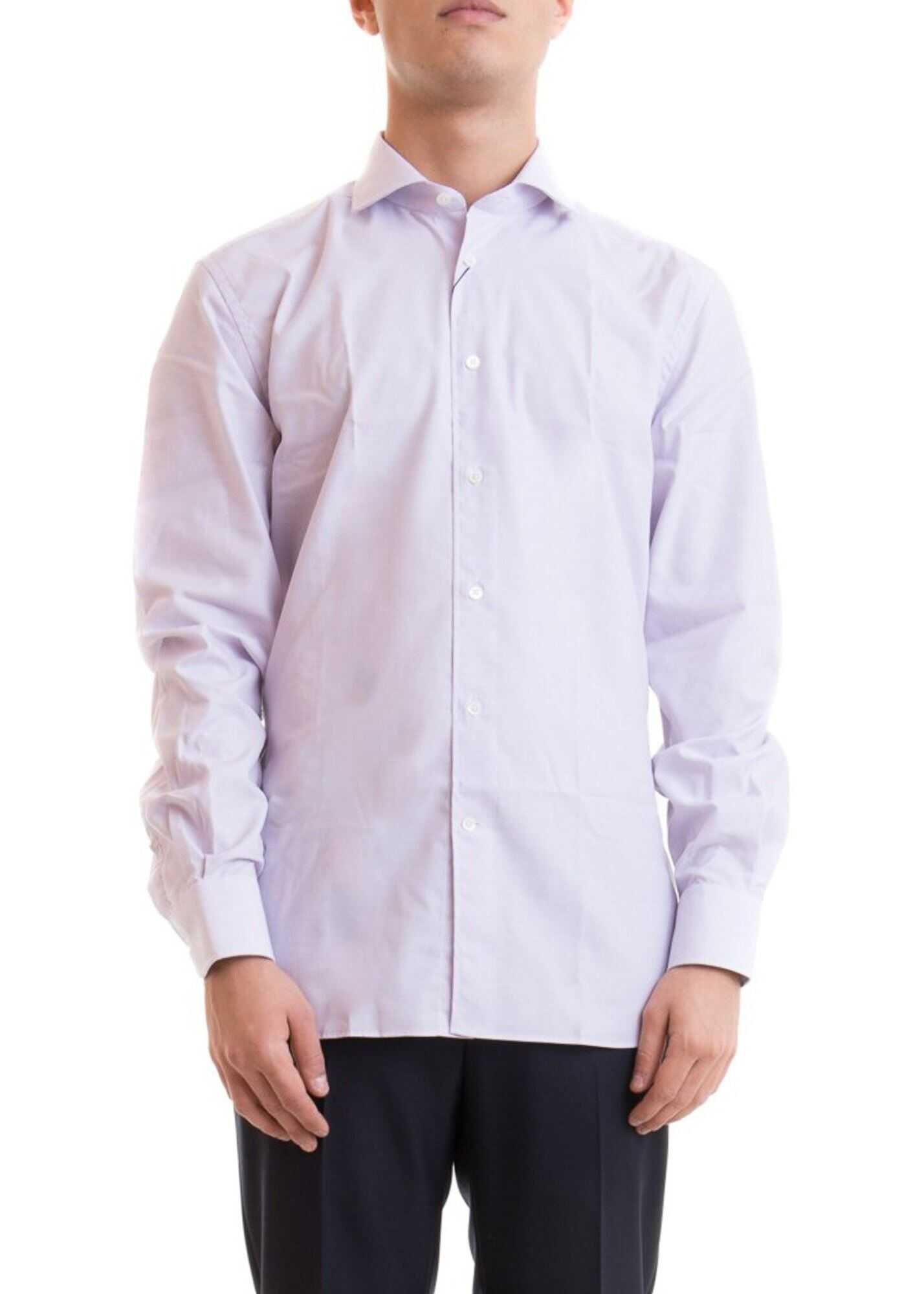 CORNELIANI Logo Patch Micro Check Cotton Shirt Purple imagine