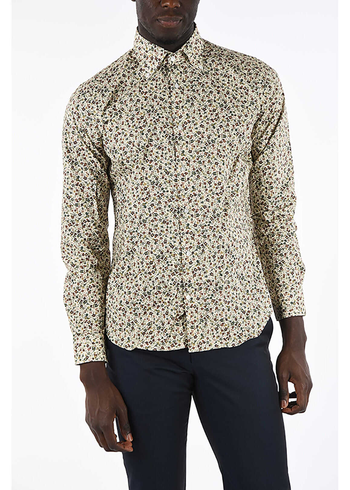 CORNELIANI CC COLLECTION Floral Printed Button Down Shirt BEIGE imagine