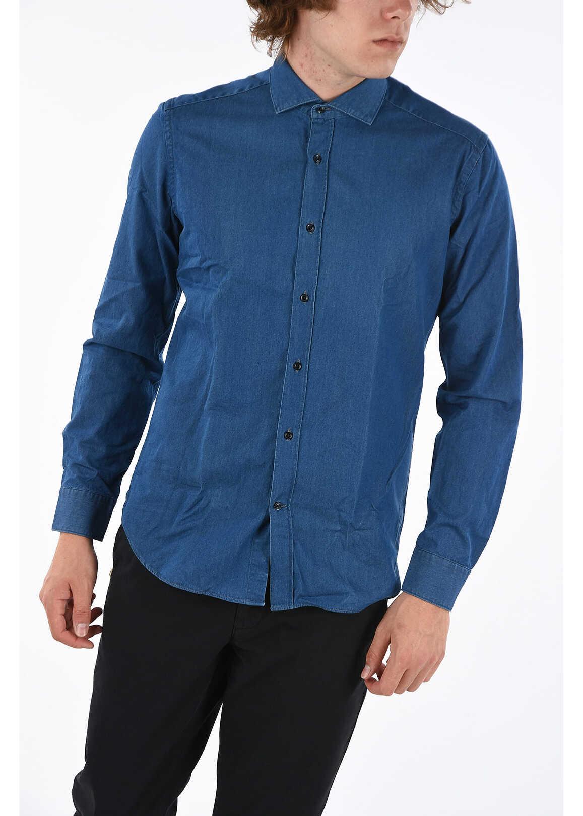 CORNELIANI CC COLLECTION Denim Slim Fit Shirt BLUE imagine