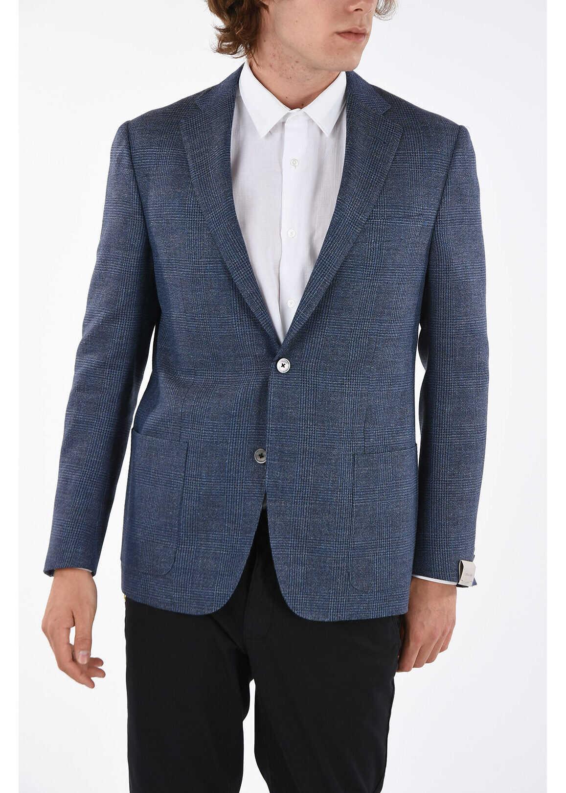 CORNELIANI district check GATE patch pocket 2-button blazer BLUE imagine