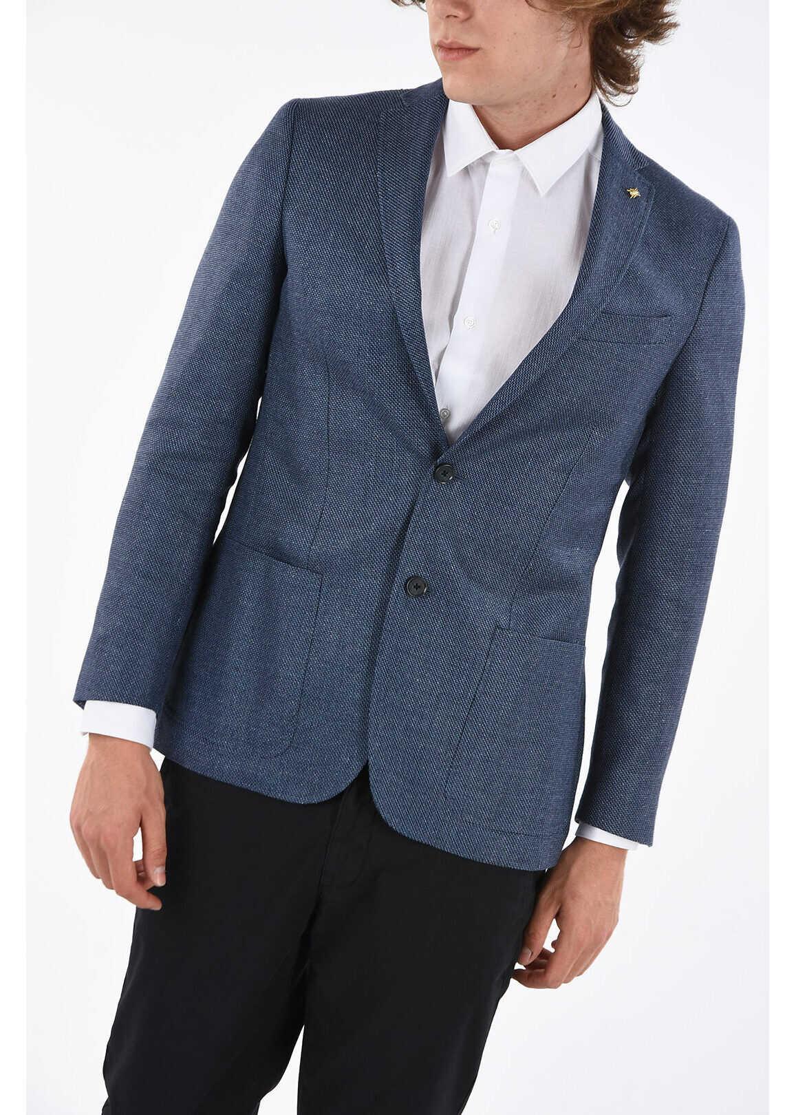 CORNELIANI CC COLLECTION hopsack RIGHT patch pocket 2-button blazer BLUE imagine