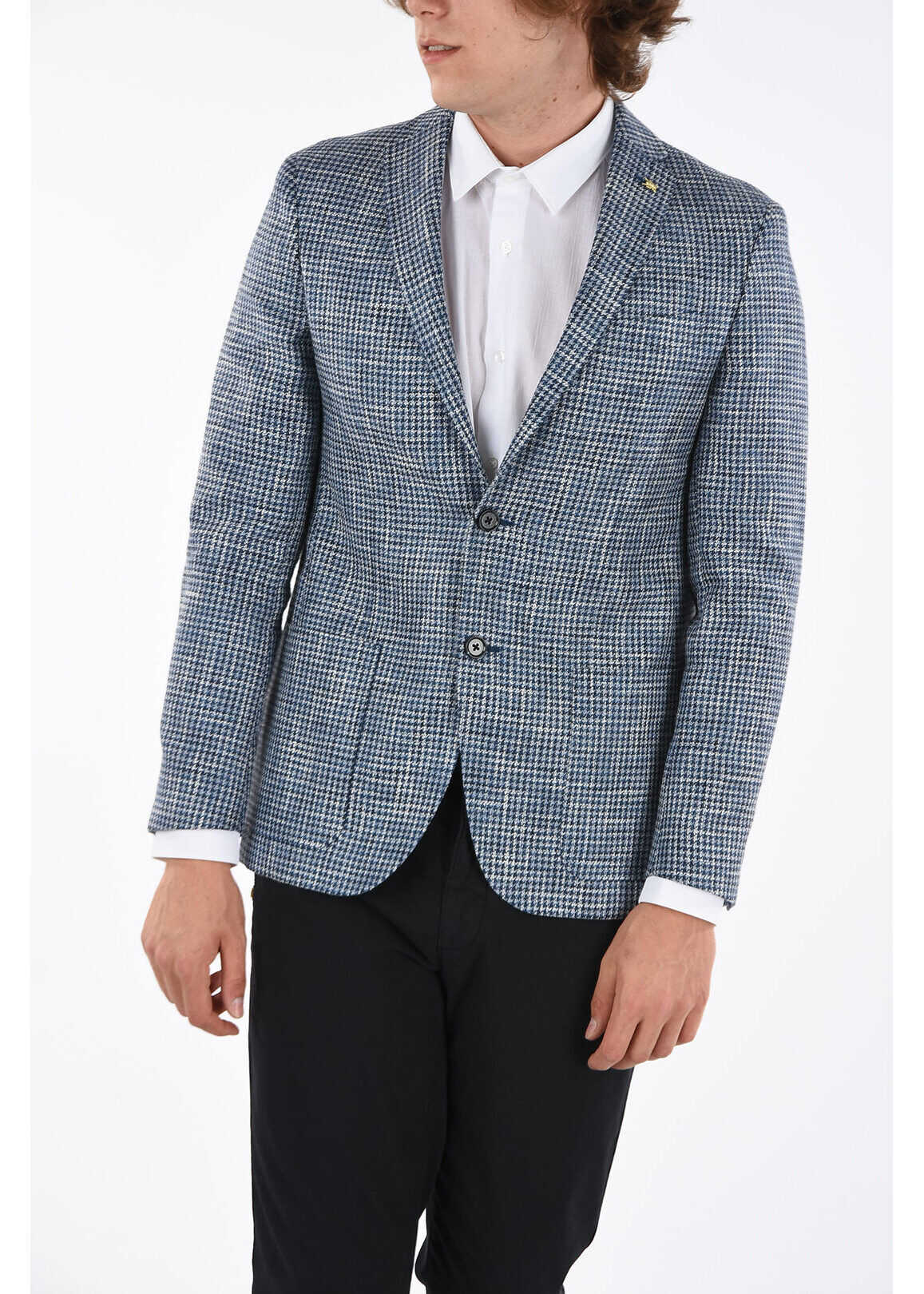 CORNELIANI CC COLLECTION houndstooth RIGHT side vents 2-button blazer BLUE imagine