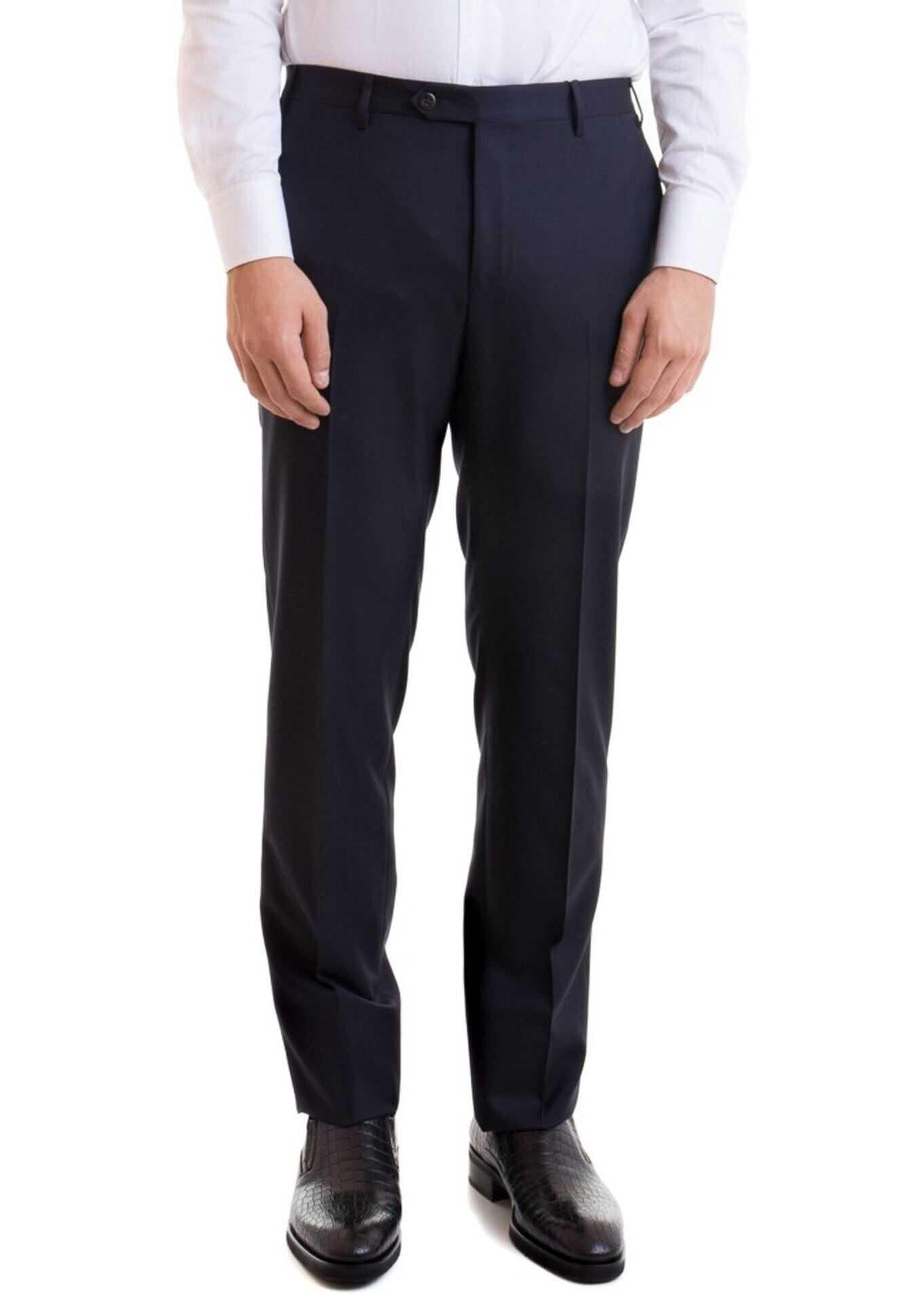 CORNELIANI Wool Pants In Blue Blue imagine