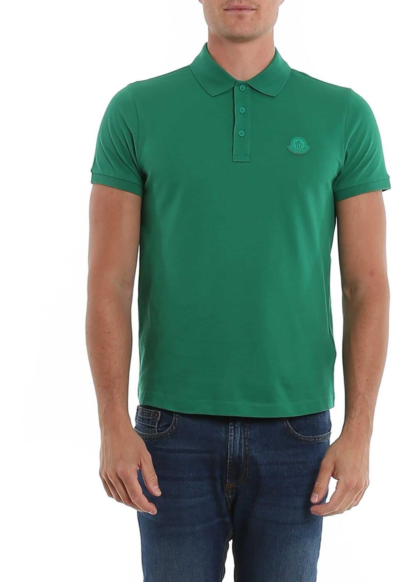 Moncler Green Cotton Polo Green