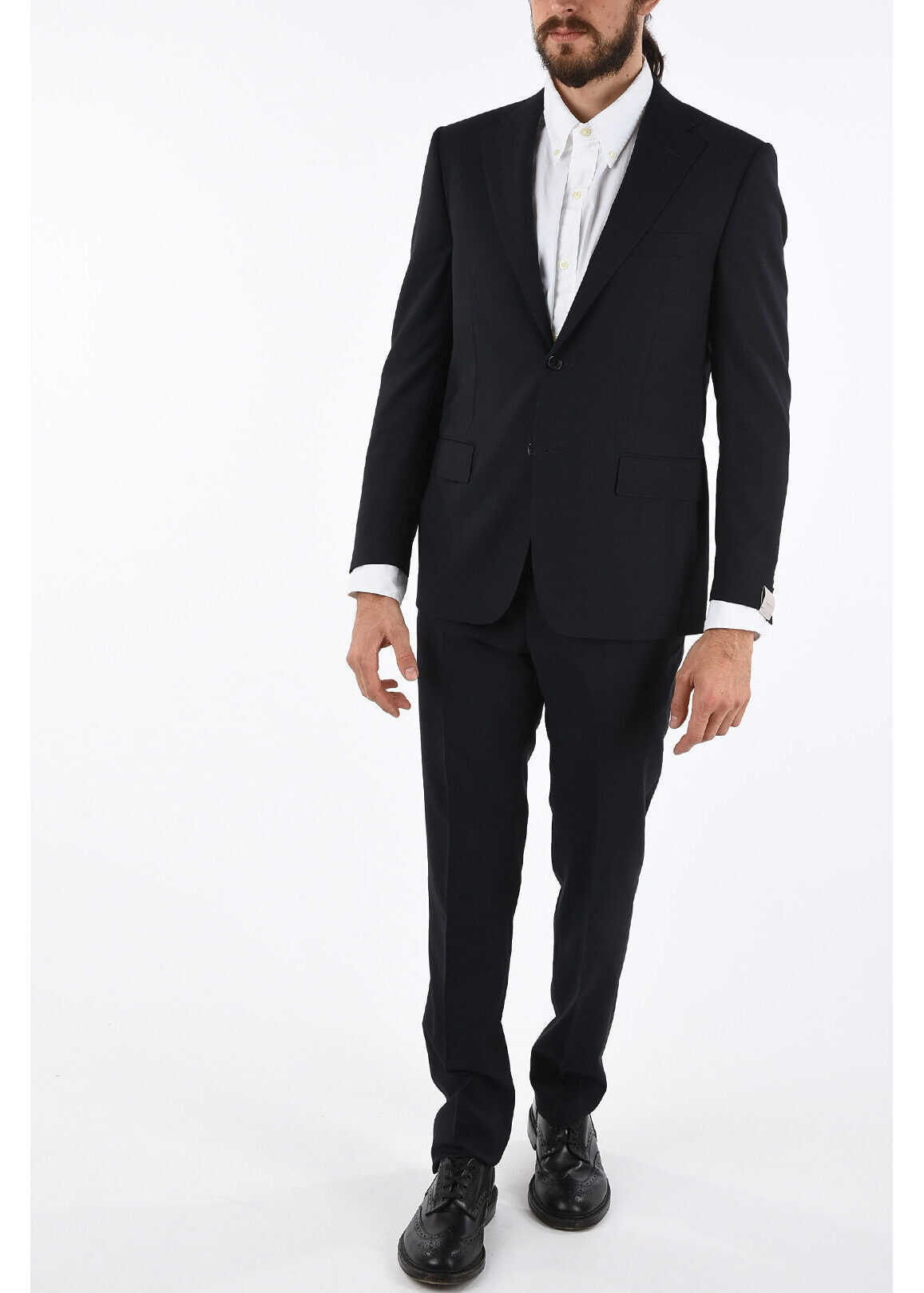 CORNELIANI MANTUA overcheck twill super 180's 2-button suit BLUE imagine