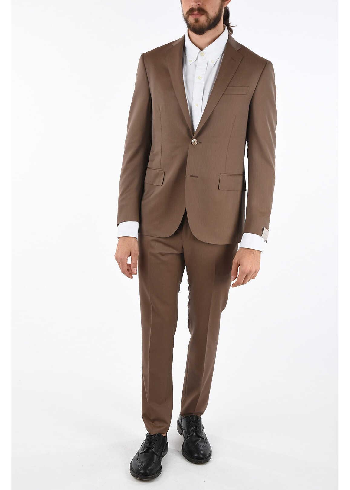 CORNELIANI hairline striped fresco ACADEMY SOFT 2-button suit BROWN imagine