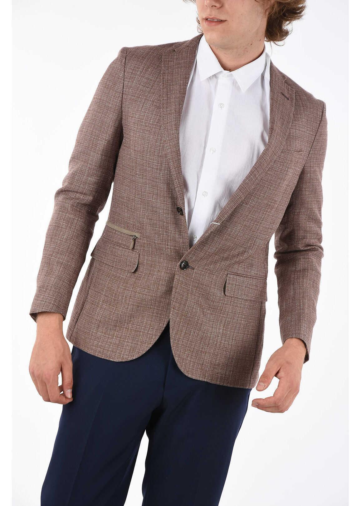 CORNELIANI fil à fil flap pocket 2-button blazer BROWN imagine
