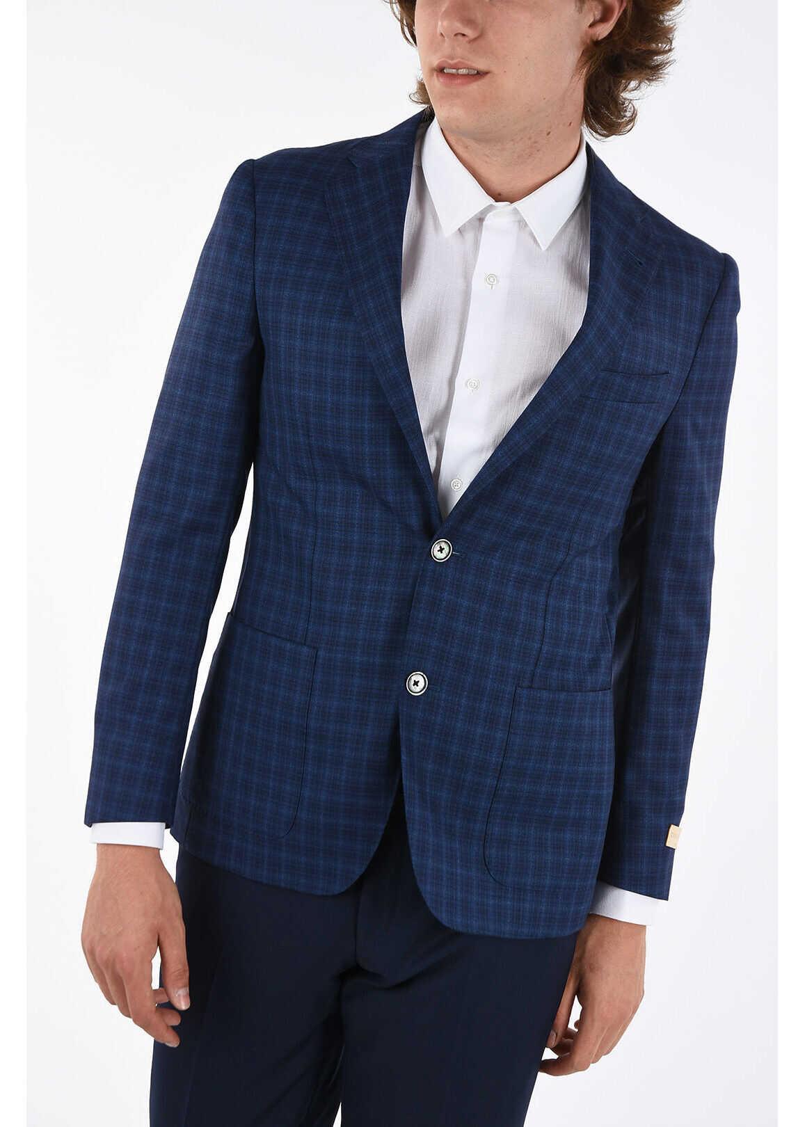 CORNELIANI district check super 130's EASY 2-button blazer BLUE imagine