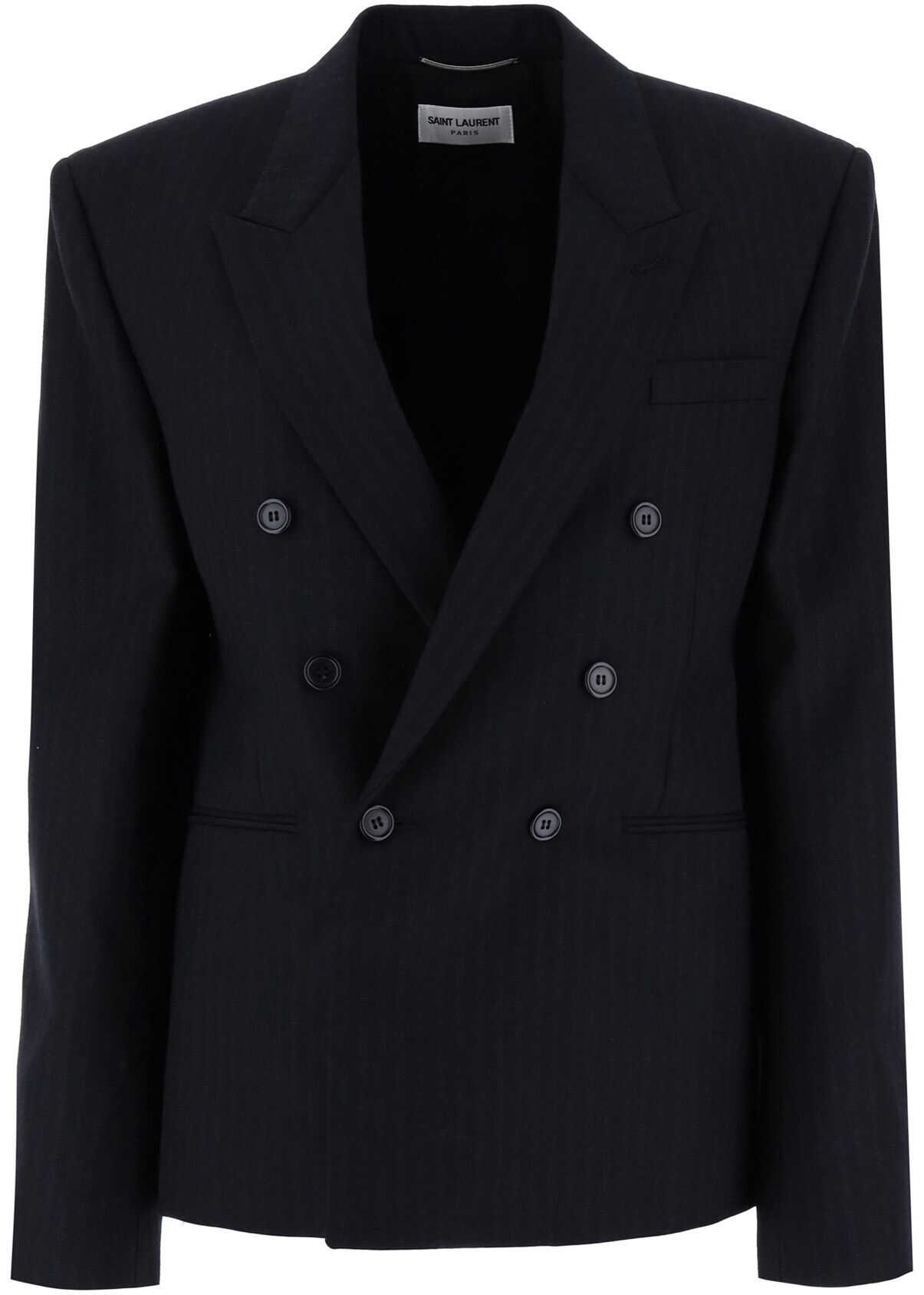 Saint Laurent Pinstripe Blazer NOIR ANTHRACITE imagine