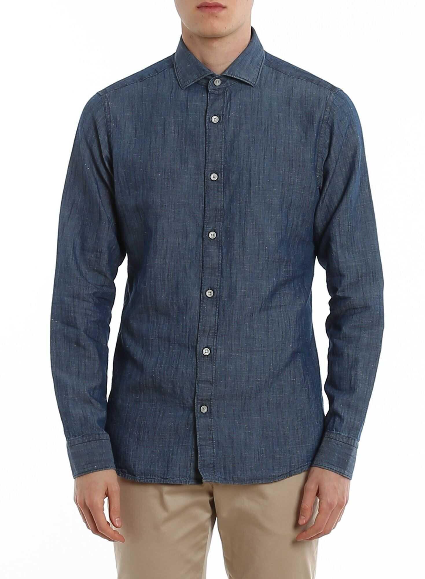 Z Zegna Denim Shirt In Blue Blue imagine