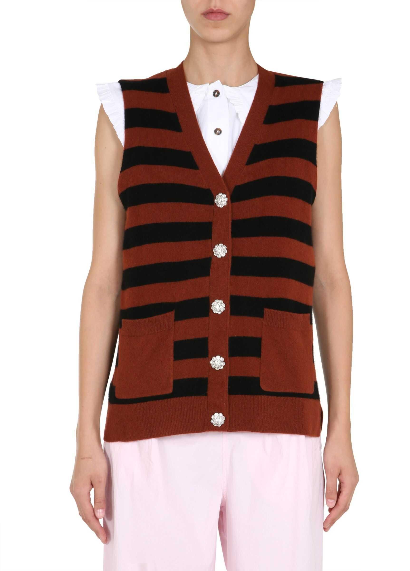 Ganni Striped Motif Vest BROWN