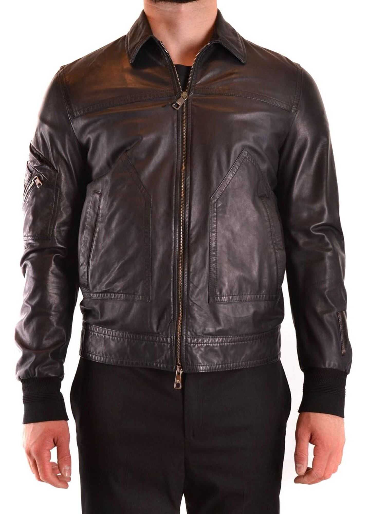 Neil Barrett Zipped Leather Jacket In Black Black imagine