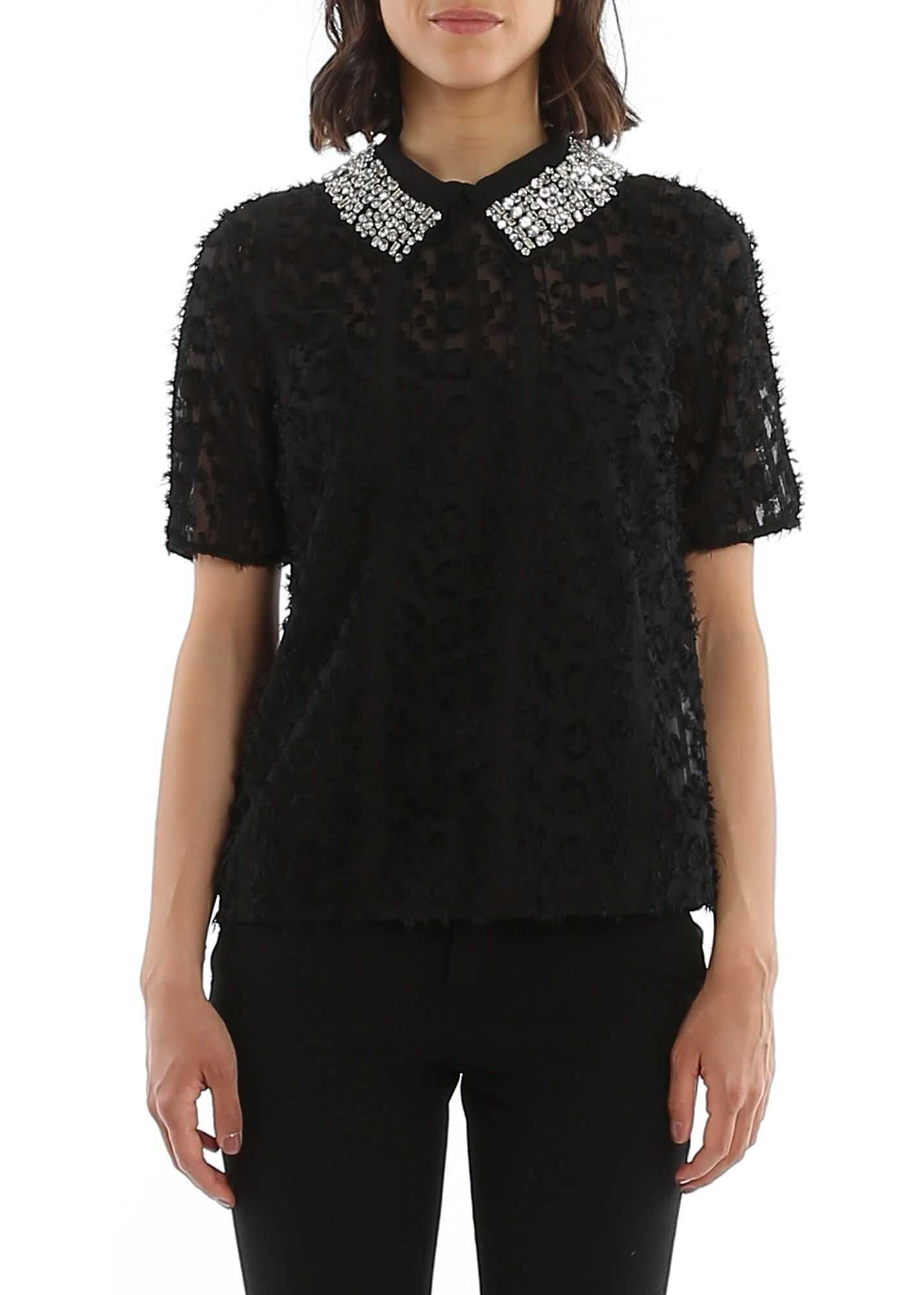 Be Blumarine Fil Coupé Embroidery Blouse In Black Black