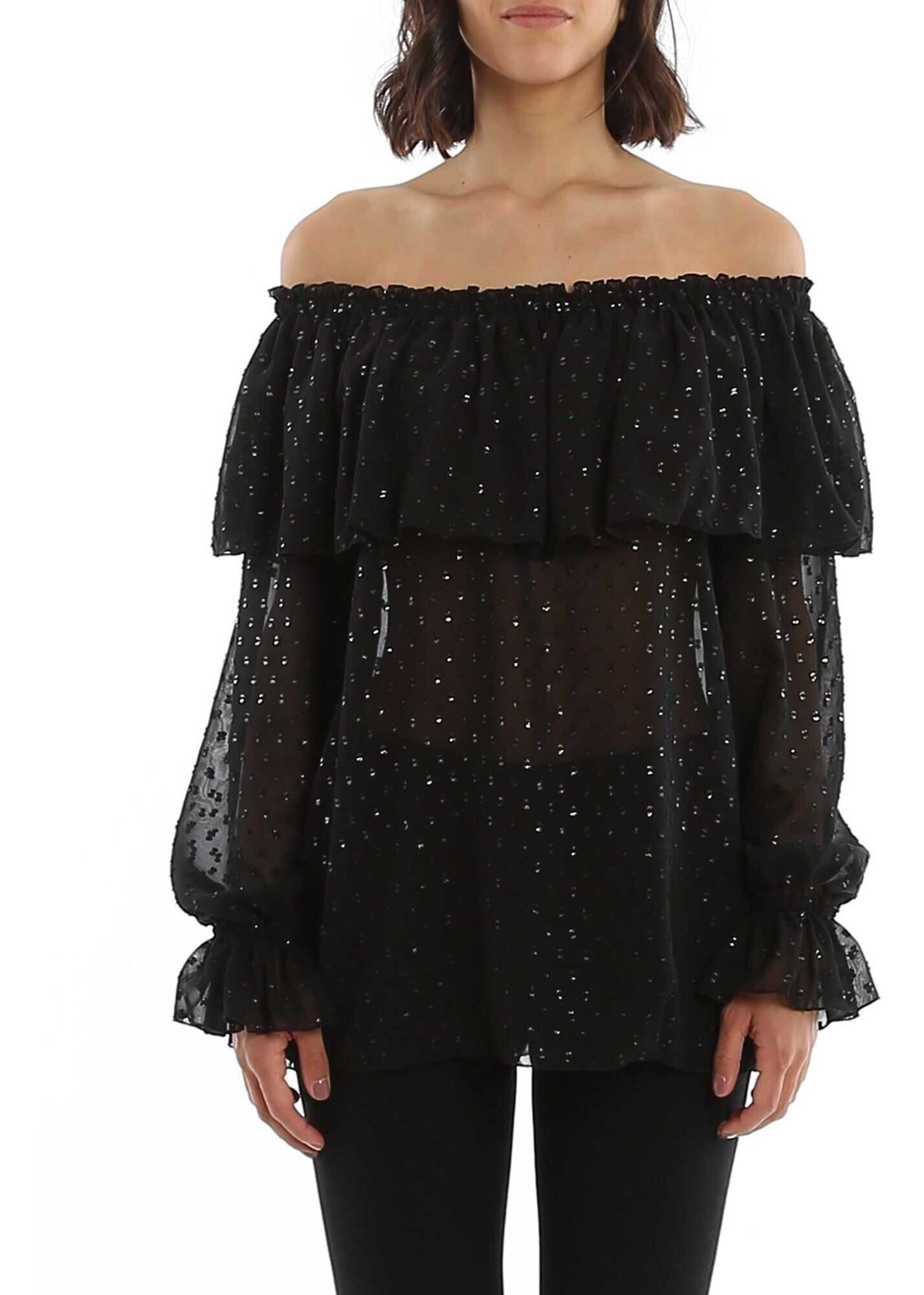 Be Blumarine Semi Sheer Ruffled Blouse In Black Black